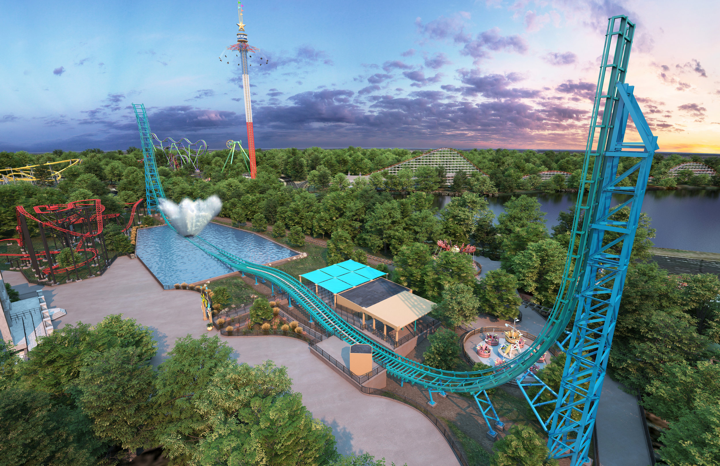Two 148-foot-tall twin towers sit on each end of the ride track.