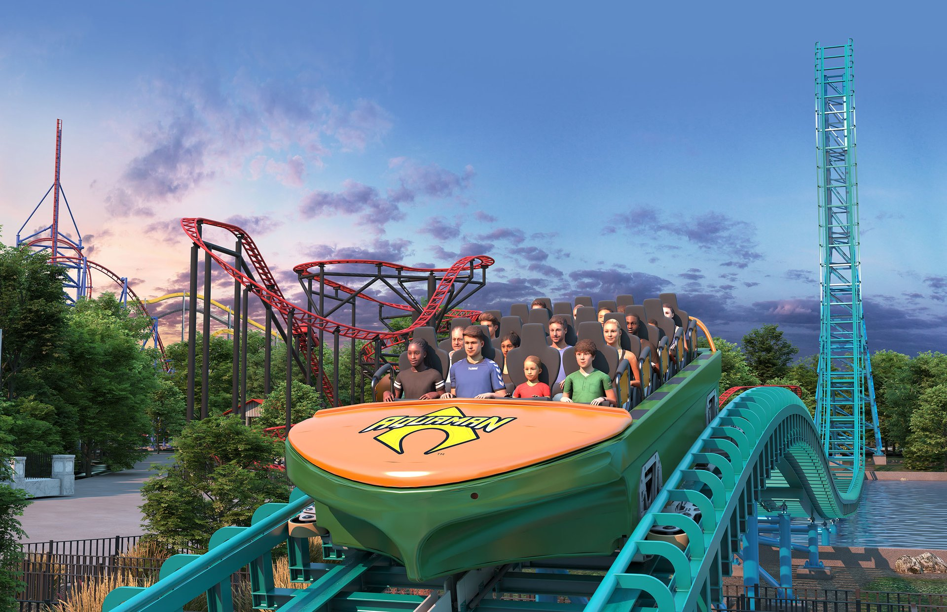 Aquaman: Power Wave holds 20 riders per cycle.