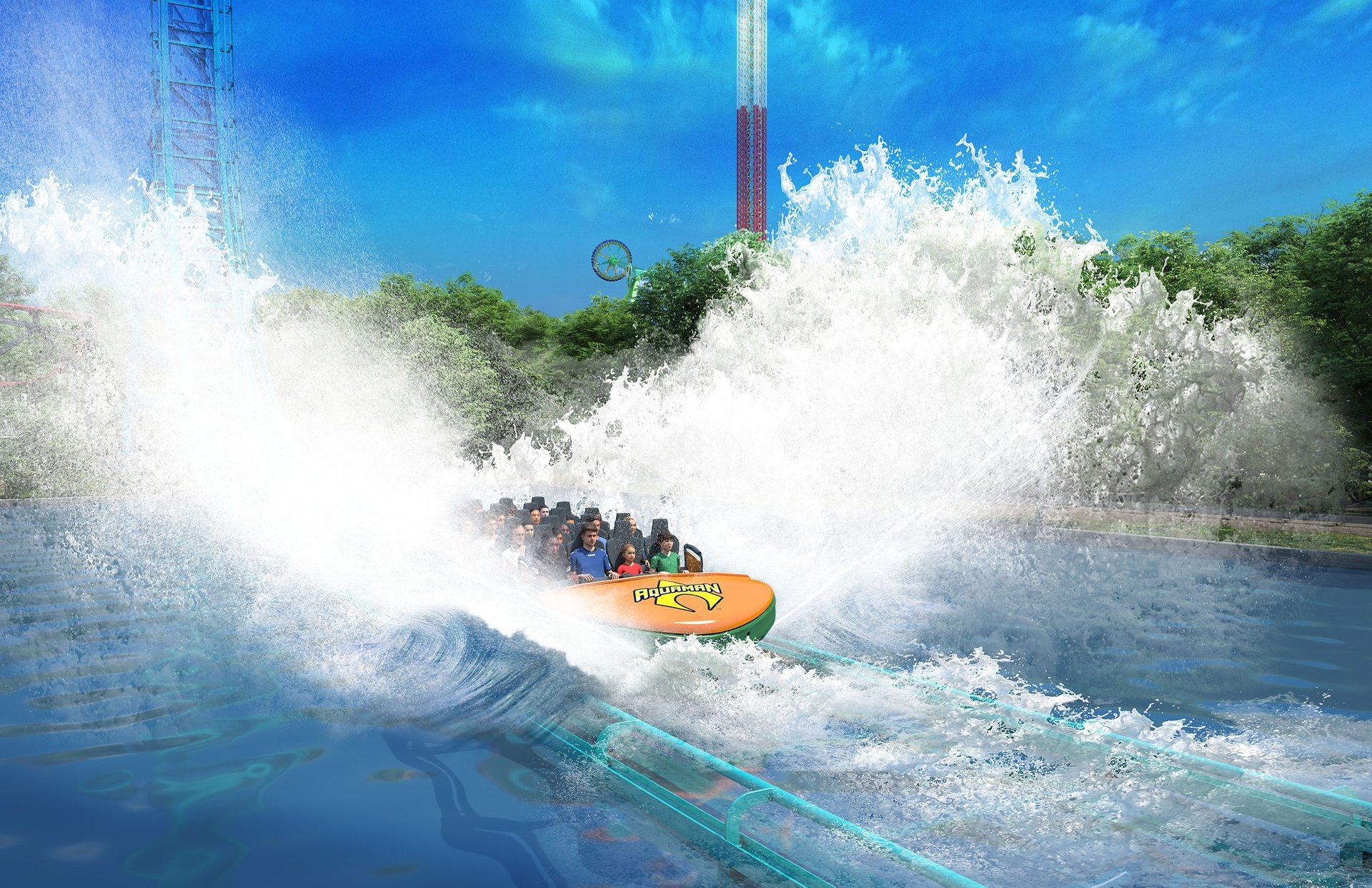 The ride ends in a final massive splashdown before heading back to the station.
