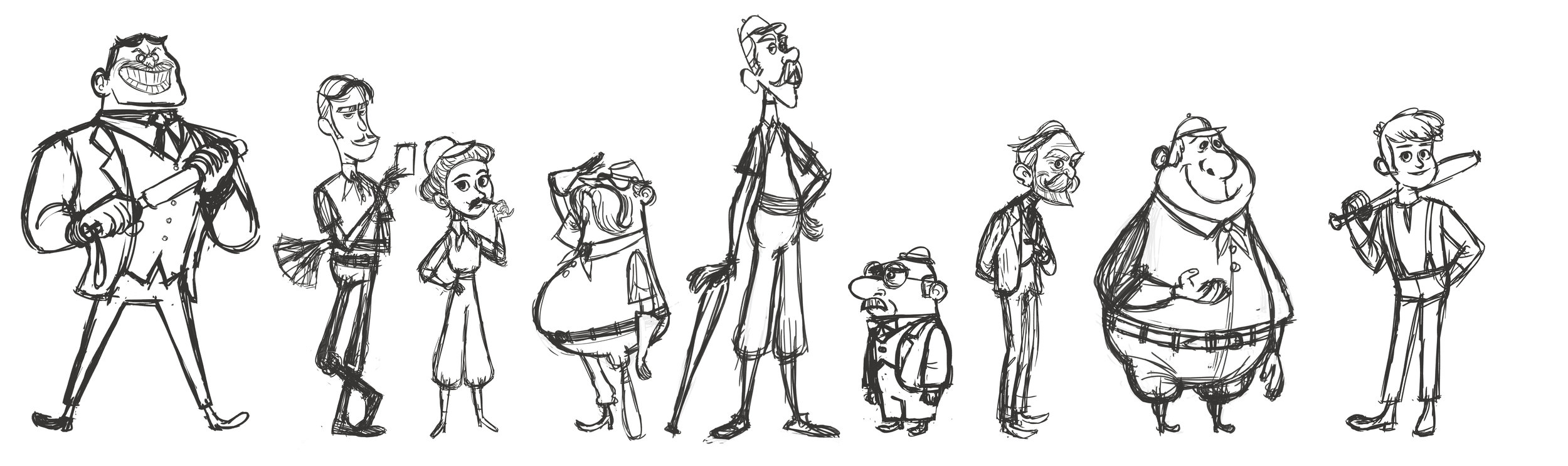 The Cast sketches by Brigette Barrager