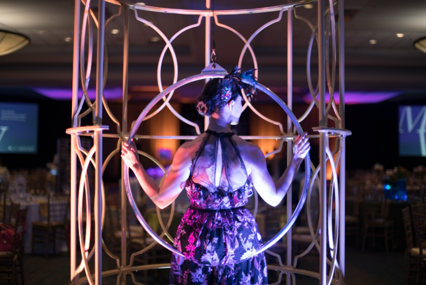 Atmospheric entertainment elements presented by Celebrity Cruises Entertainment.