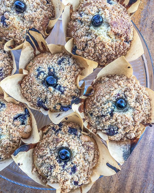 Warm homemade Blueberry Crumble muffins fresh out the oven this morning! Come snag one while they still last!