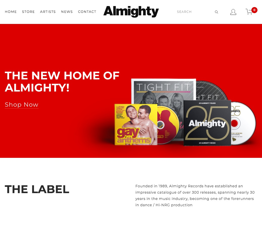 NEW WEBSITE LAUNCHED - 10% DISCOUNT! - Sunday 17th February 2019 - Emma at AlmightyMany thanks for visiting our new website!Our site will now be constantly updated with rotating products, meaning you will see more artist features, more old products becoming available and more promotions and discounts for you to make the most of Almighty's impressive catalogue!To celebrate the launch of our new website, we're giving all our customers 10% Discount, off all orders over £10!This discount will automatically be applied at checkout (no promo code needed!) and will apply to any order from our store with a goods value over £10 GBP. Offer ends 28th February 2019.We would like to encourage you to connect with us on Social Media platforms and we will always be posting news and updates directly from Almighty, right here on our 'NEWS' page!