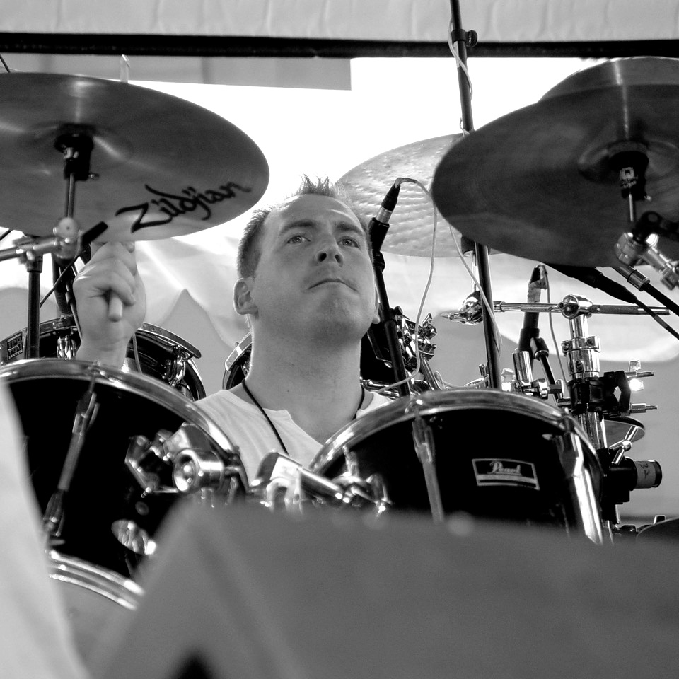 Jim Kovac - Jim has worked with variety of music groups as a drummer, percussionist, electronic percussion/programmer and producer over the years. But, he doesn't get out much anymore. Now a days, he just stores up mass amounts of rhythmic kinetic energy and then unleashes it onstage with 8TRACK.