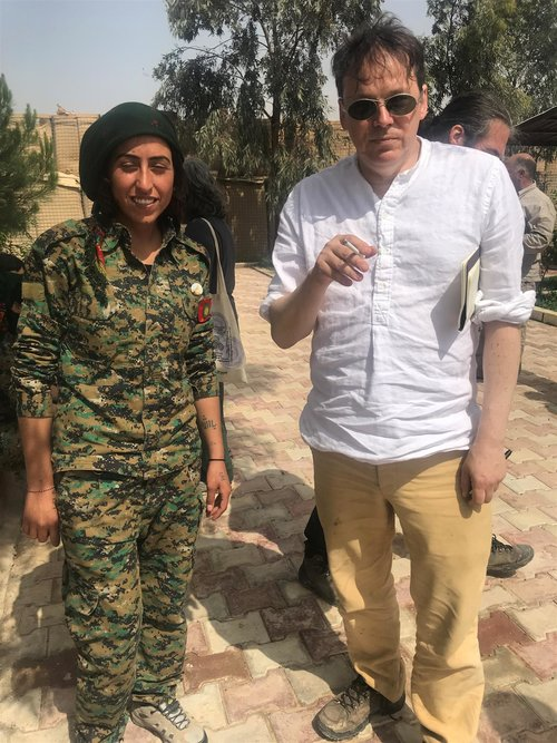 YBJ (Yezidi Women's Forces) fighter with David in Shengal