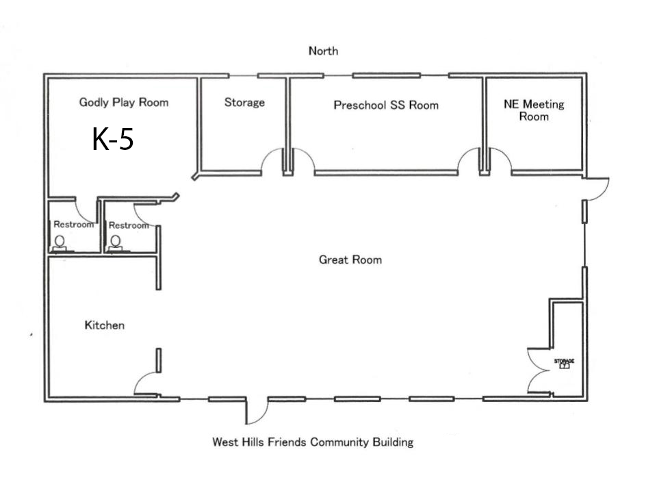 Where do they go? - Here is a little floor plan of the community building where the pre-K, K-5, and Teens meet on Sundays. The nursery is located in the main building.