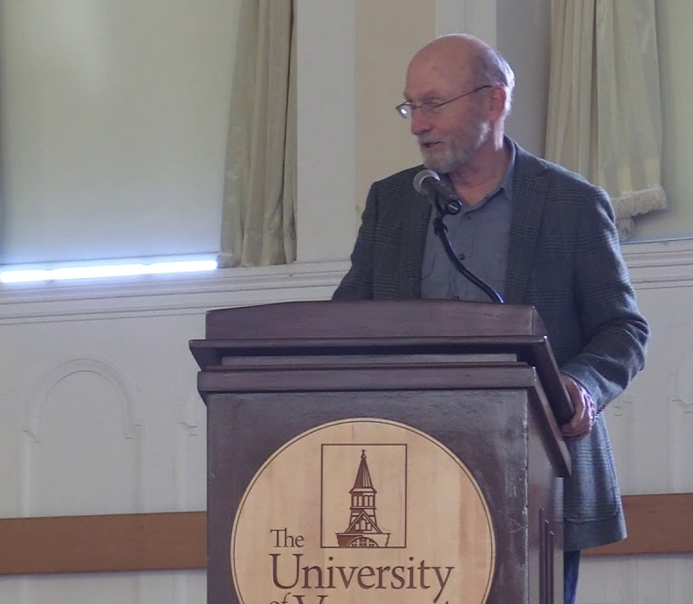 "John Elder: ""Stay Together, Learn the Flowers, Go Light""— Reflections on Community and Sustainability - October 18, 2017, University of Vermont. Sponsored by the Dept. of Romance Languages and Linguistics, the Environmental Program, and the EcoCulture Lab"