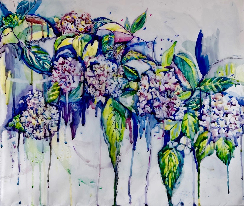 "Big Purple   Tuscany Series, June 2018  Watercolour on Mylar 26""x28"", $1200"