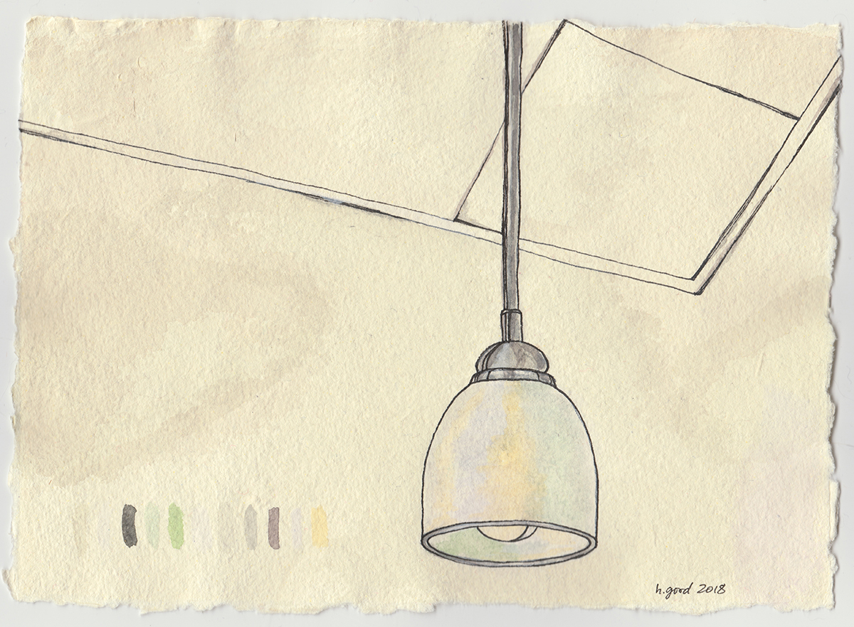 "Lamp and Ceiling watercolour and pen on paper 6x8"" $45"