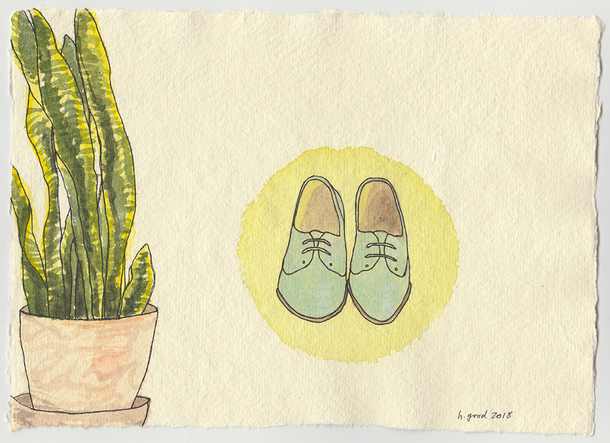 "Sansevieria and Shoes watercolour and pen on paper 6x8"" $45"
