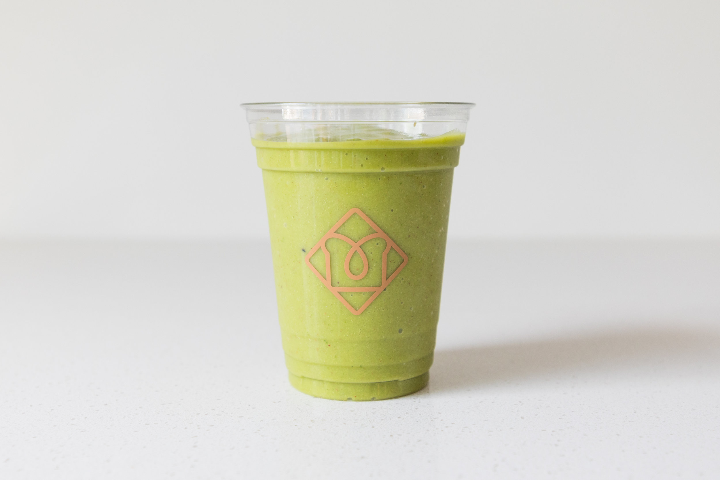 Green Machine:  Banana / Pineapple / Mango / Spinach / Kale / Hemp Seeds / Flax Seeds / Coconut Water