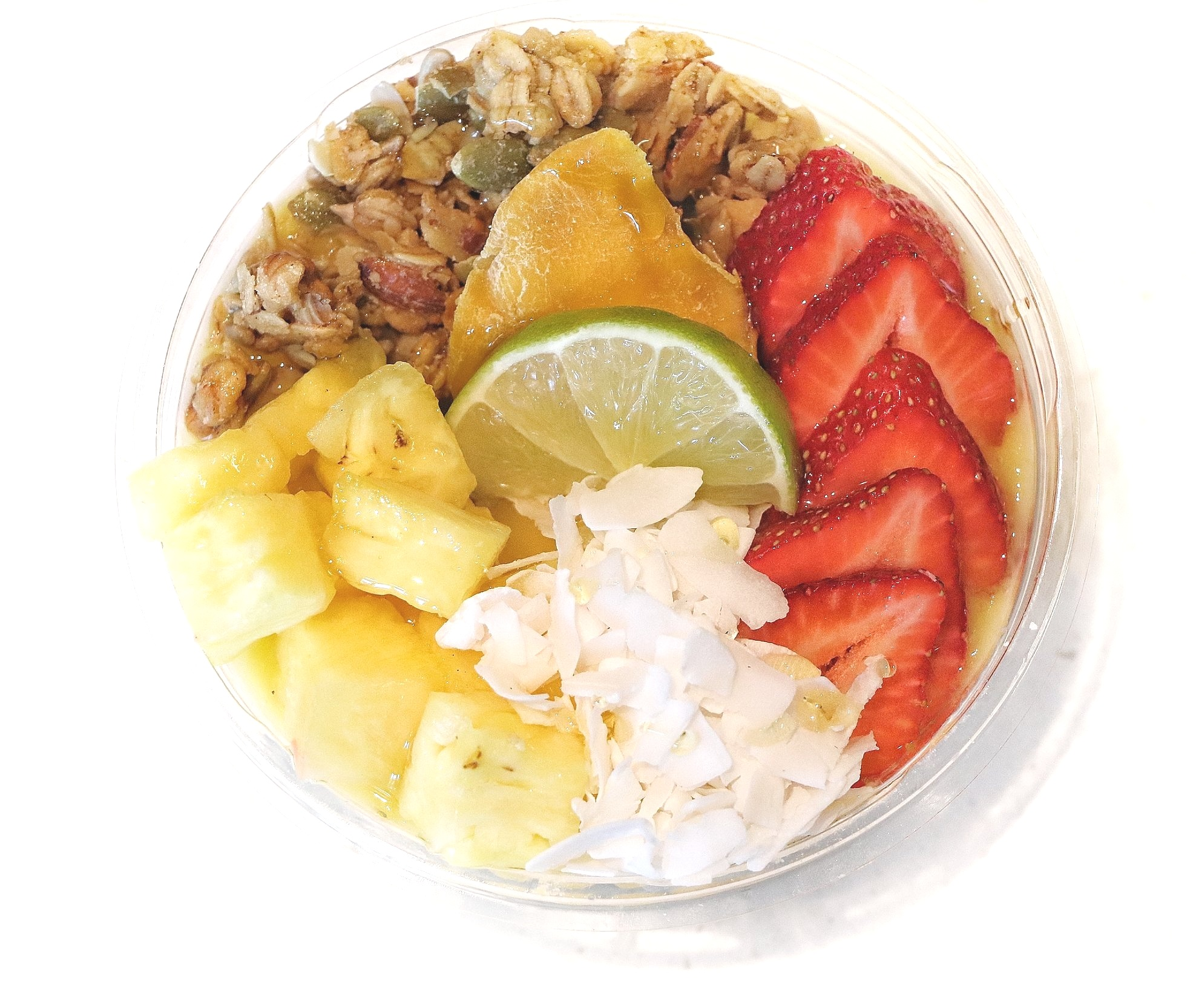 Mango Tango:  Mango / Pineapple / Lime / Coconut Water  Topped with Granoa, Pineapple, Strawberry, Coconut, Lime Wedge, Drizzle of Honey, Dried Mango