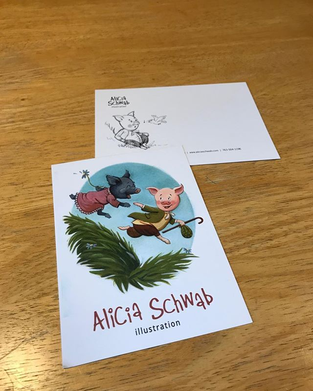 Yay! My new postcards! #tfw #ilovemyjob #childrensbookart #Storybookcharacter #PiglinBland #artistsoninstagram
