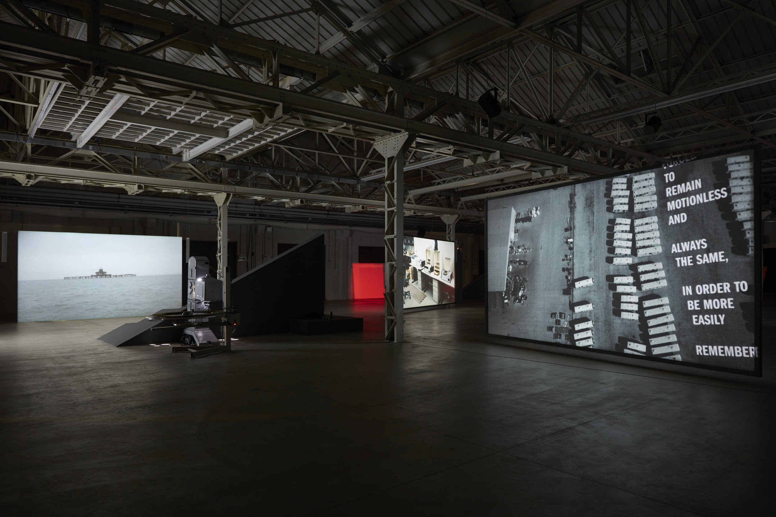Rosa Barba: From Source to Poem to Rhythm to Reader , 2017. Installation view: Pirelli HangarBicocca, Milan. Photo: Agostino Osio © Rosa Barba