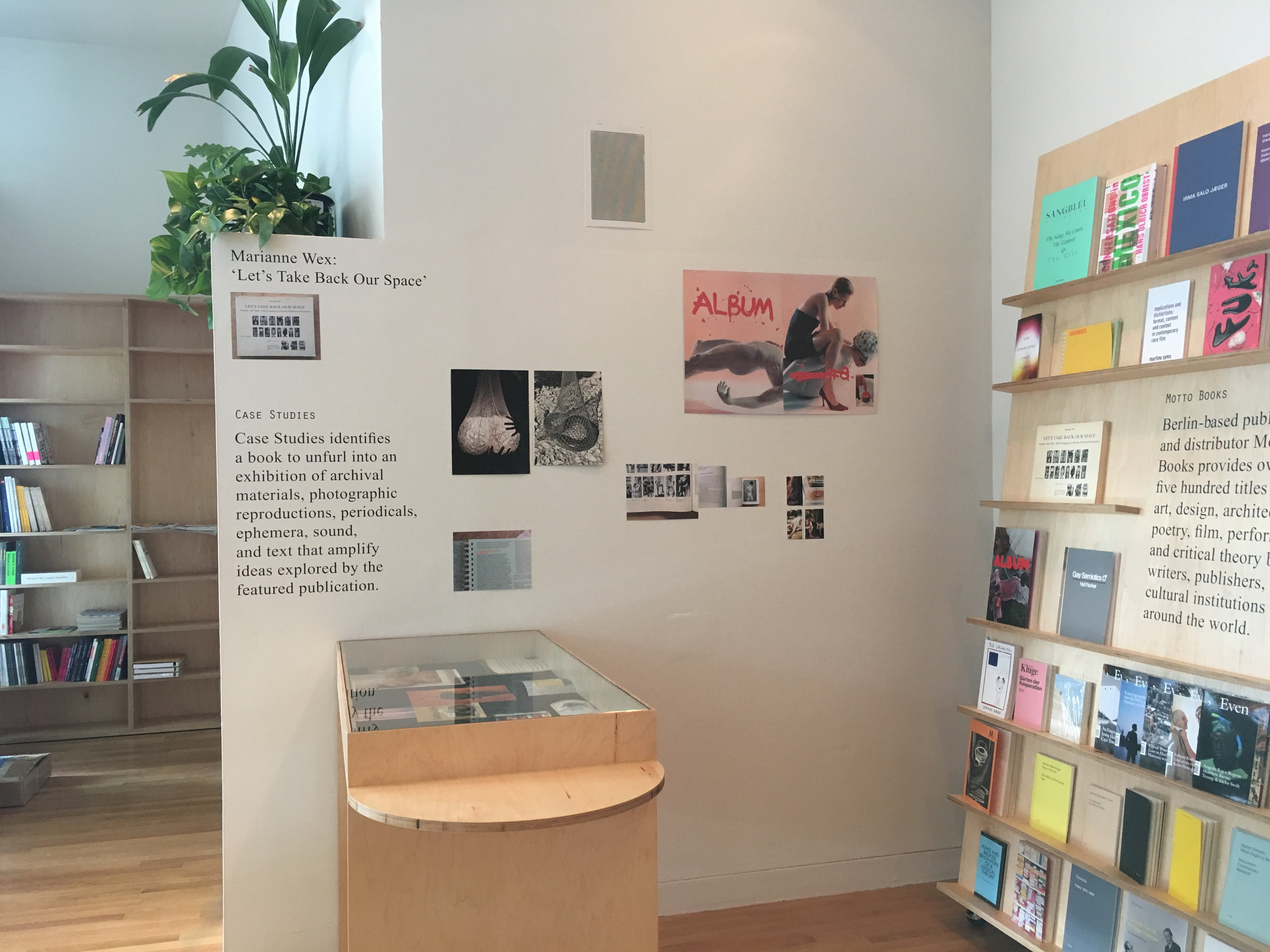 Installation view: Marianne Wex: 'Let's Take Back Our Space'  with printed matter from, by or about ALBUM (Eline Mugaas and Elise Storsveen), Jérôme Saint-Loubert Bié, Caravaggio, Hal Fischer, André Malraux, Martine Syms, Lynne Tillman, and Wolfgang Tillmans.
