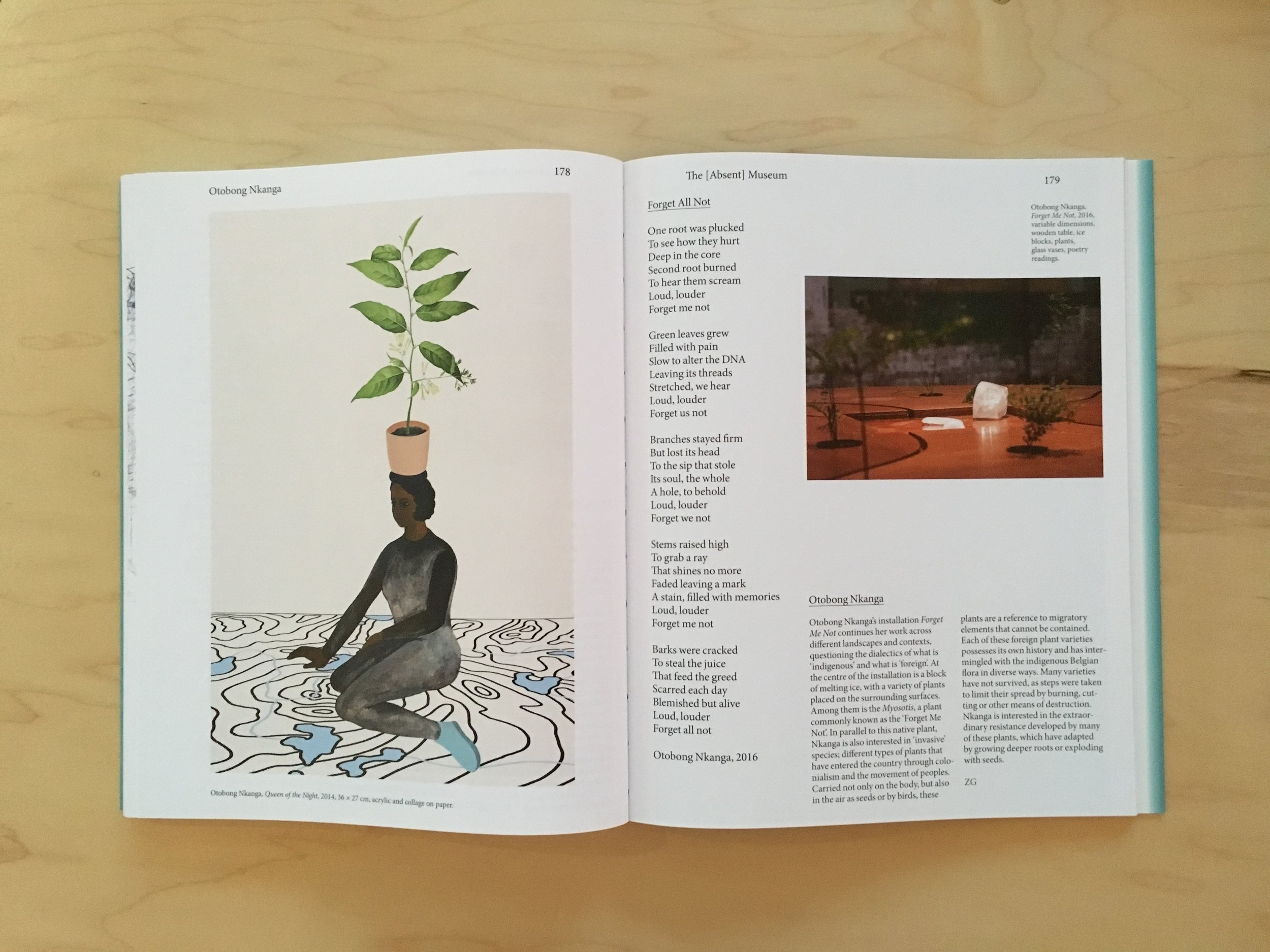 Otobong Nkanga, Queen of the Night , 2014, and Forget Me Not , 2016, in The Absent Museum: Blueprint for a Museum of Contemporary Art for the Capital of Europe .Edited by Dirk Snauwaert (Brussels: WIELS, New Haven: Yale University Press, 2017).
