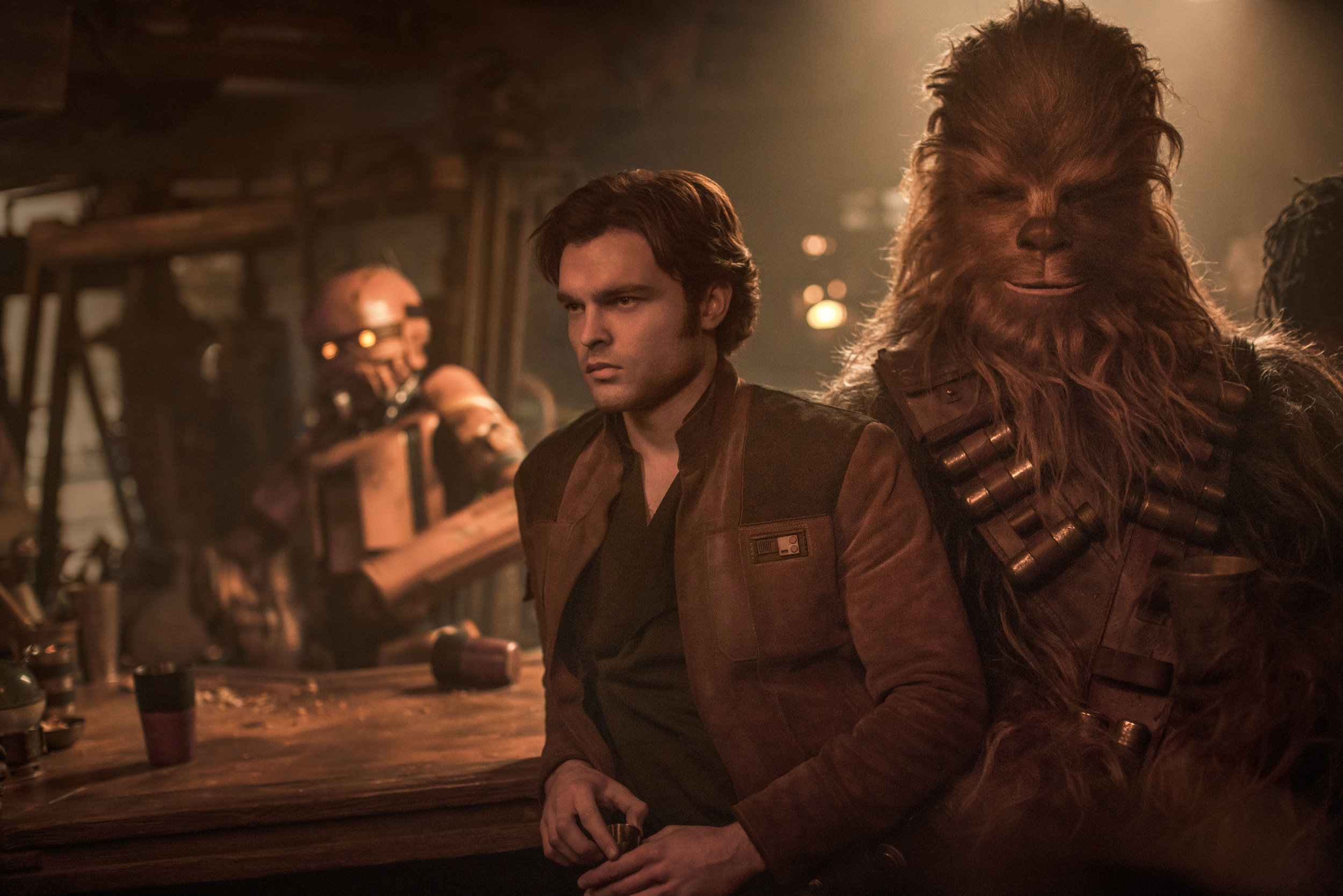 "Han Solo (Alden Ehrenreich) and Chewbacca (Joonas Suotamo) in ""Solo: A Star Wars Story.""  (Photo courtesy Lucasfilm/Disney)"