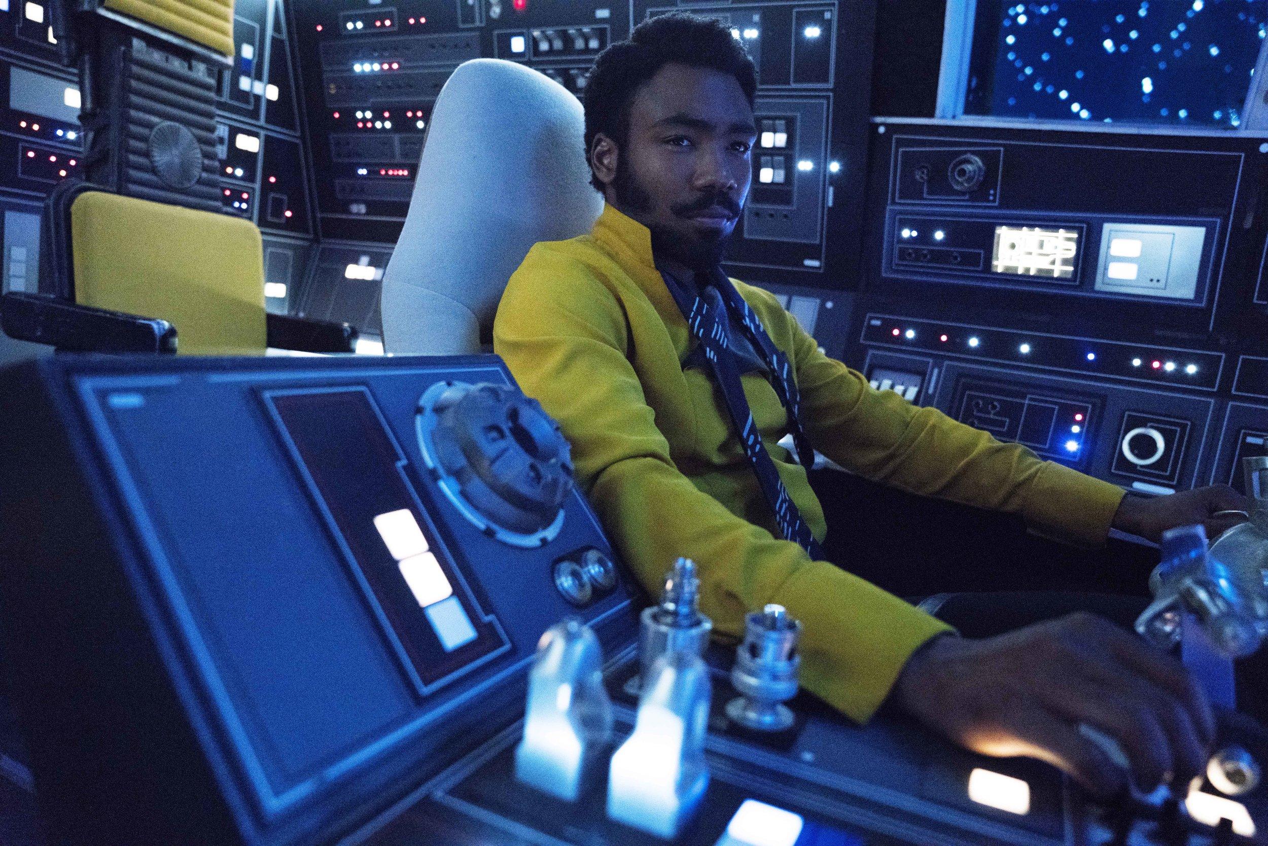 "Donald Glover as Lando Calrissian in ""Solo."" (Photo courtesy Lucasfilm/Disney)"