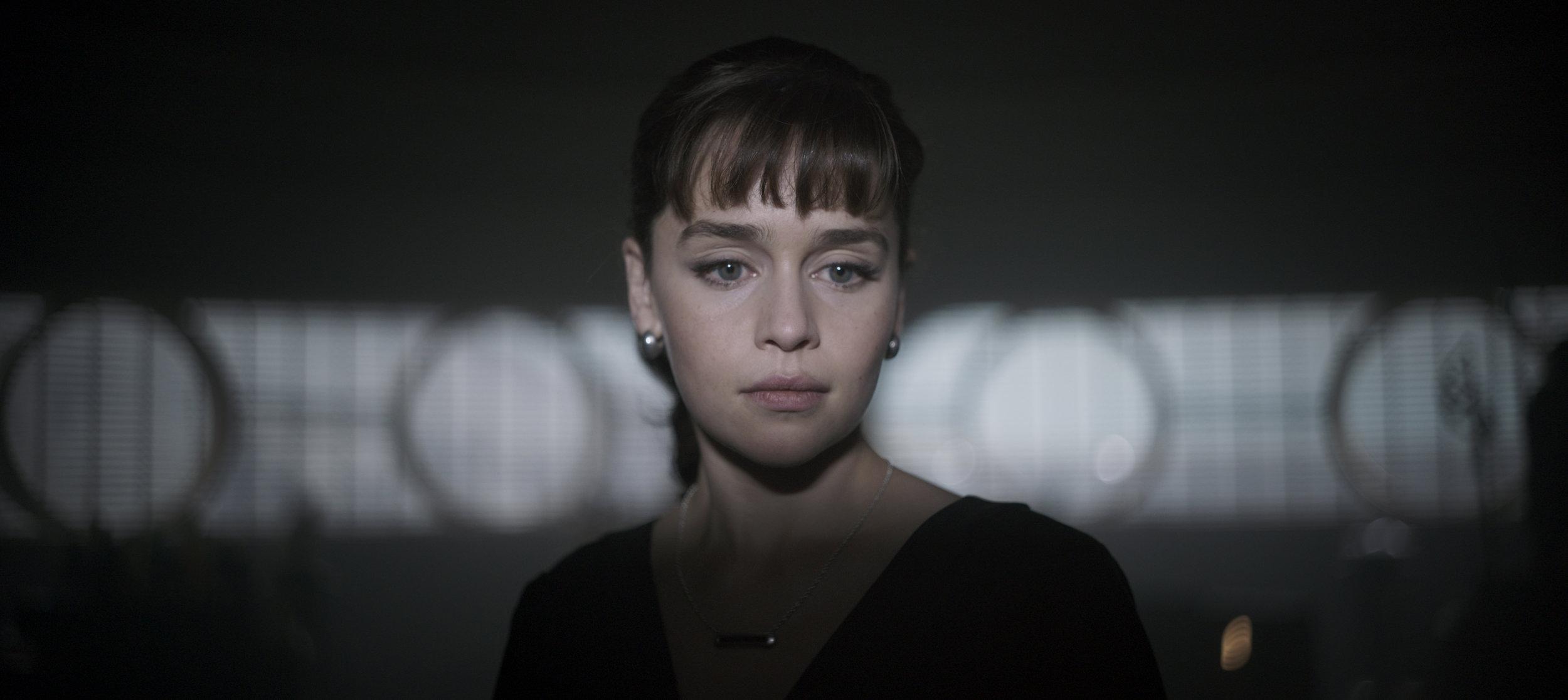 "Emilia Clarke as Qi'ra in ""Solo."" (Photo courtesy Lucasfilm/Disney)"