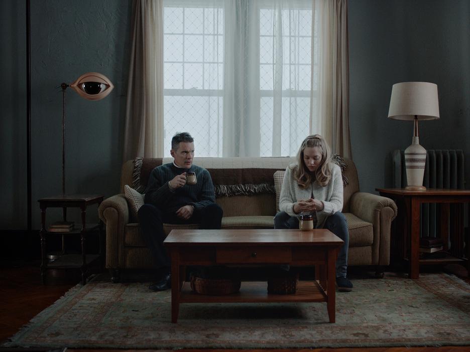 "Ethan Hawke and Amanda Seyfried in ""First Reformed."" (Photo courtesy A24)"