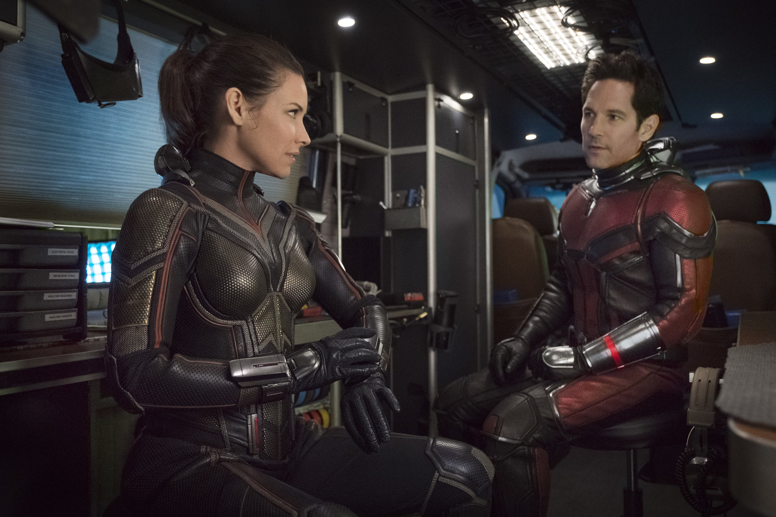 """Evangeline Lilly and Paul Rudd in """"Ant-Man and the Wasp."""" (Photo courtesy Disney/Marvel)"""