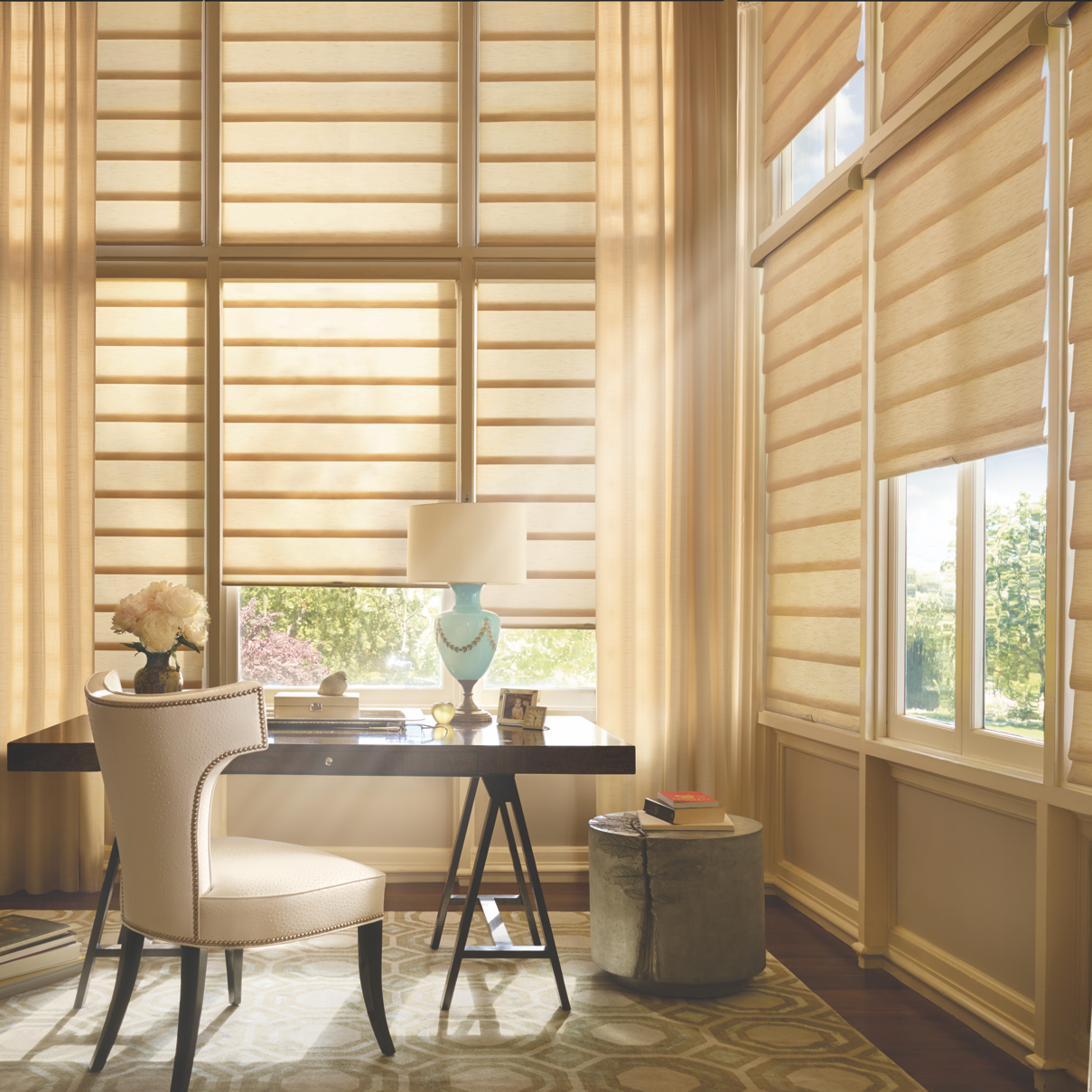 Blinds/Shades - In the past, blinds and shades were for considered only for functional purposes. Today's product selection offer many unique choices in features, fabrics colors and operating systems. While frequently combined with custom drapery treatments its not always necessary as they are a design statement all their own.We carry Comfortex Window Fashions and the full Hunter Douglas product line.