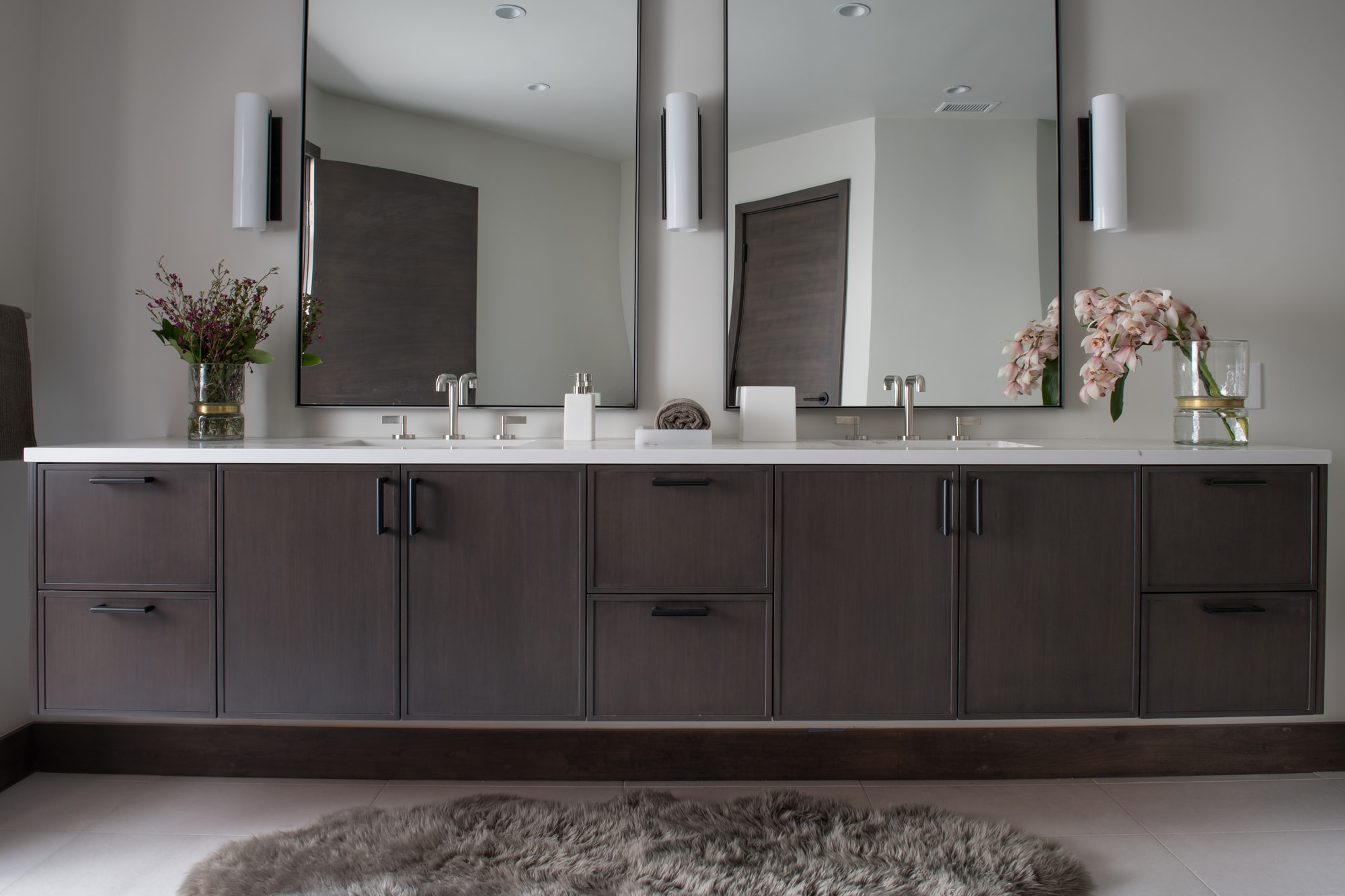 Elegant two mirror above the spacious cabinet