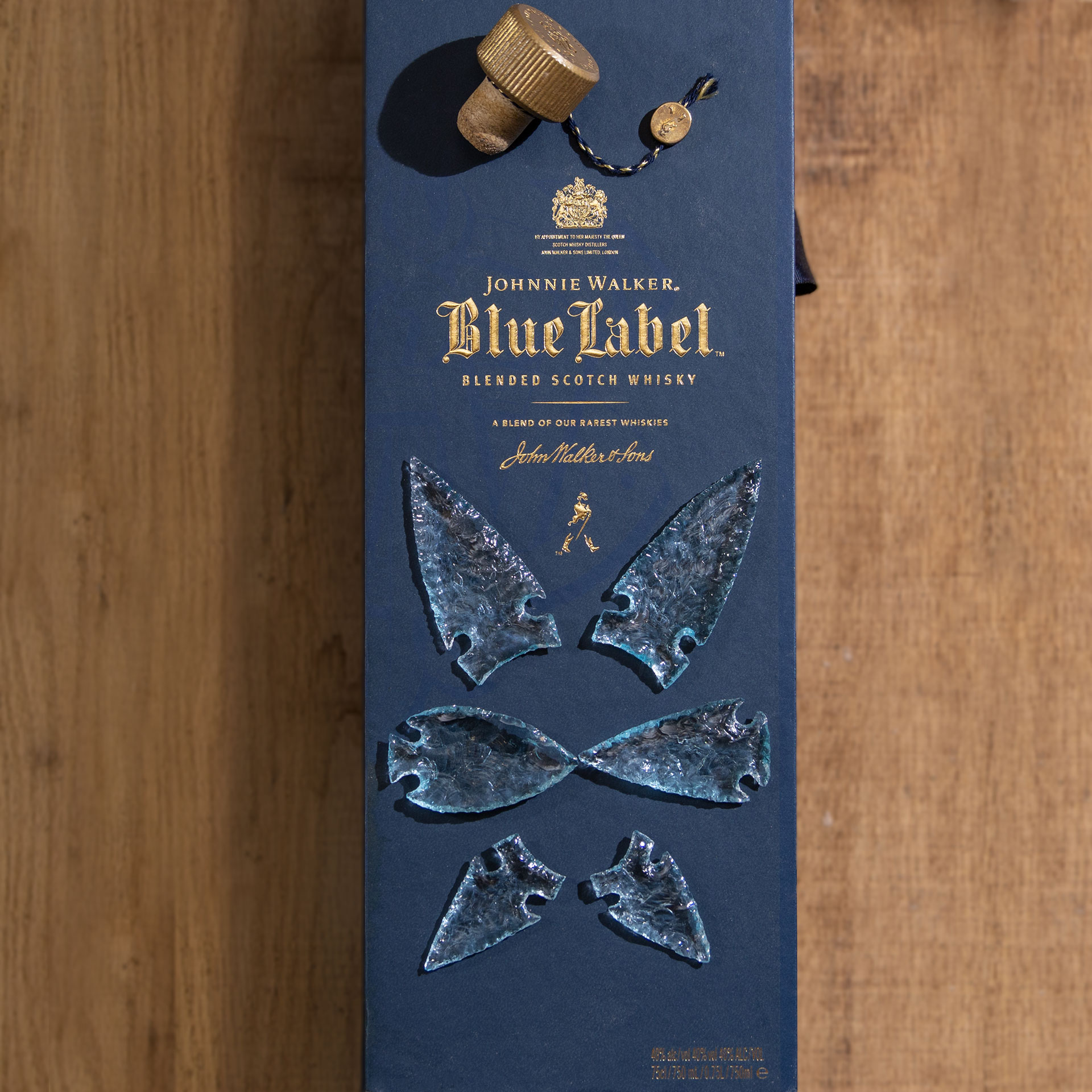 The arrowheads David made from a bottle of Johnnie Walker Blue Label Blended Scotch Whisky