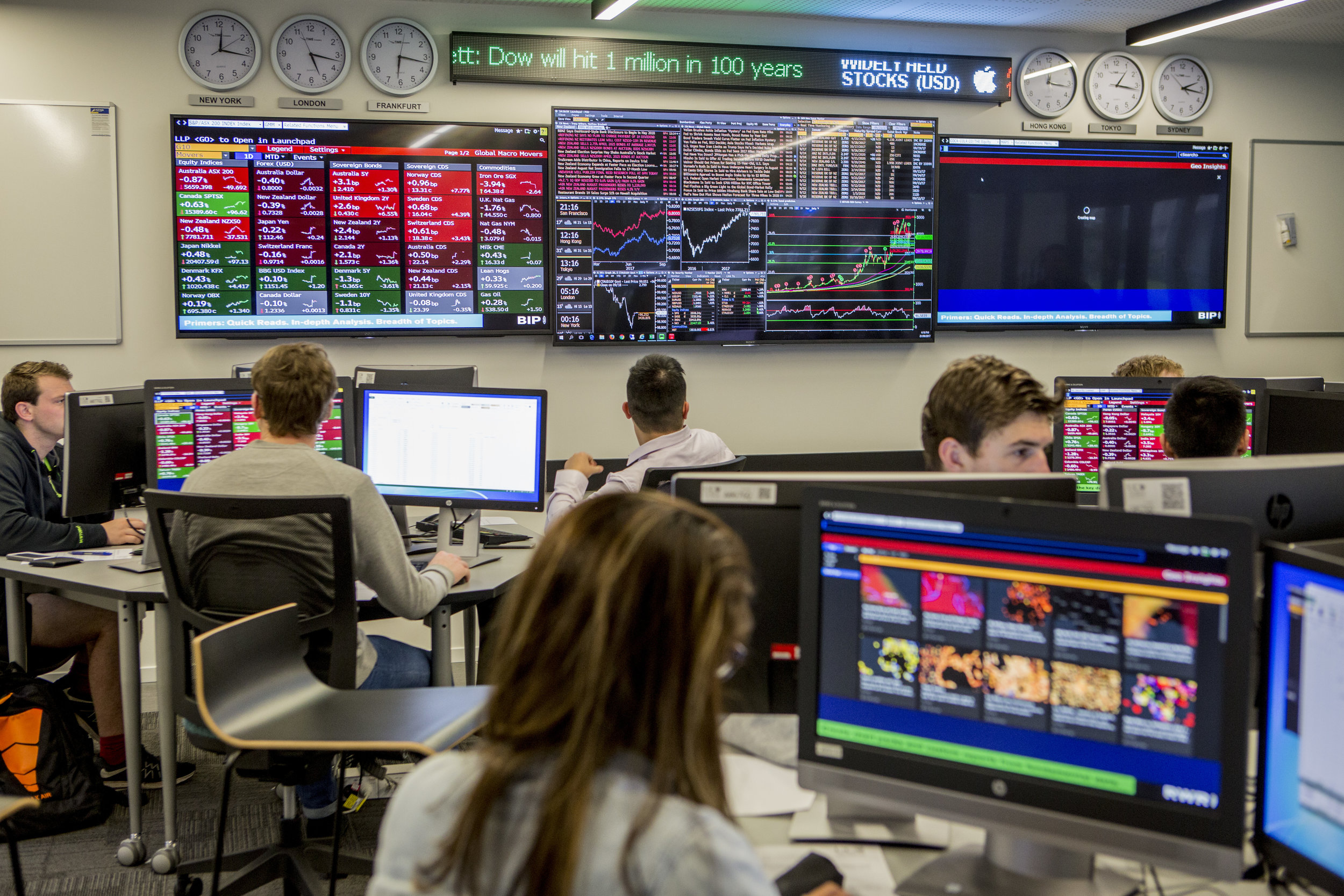 Photo info: The UC Business School Trading Room simulates a real-world financial trading environment, providing business and finance students with experiential learning and skills in fund management.  Photo credit: University of Canterbury