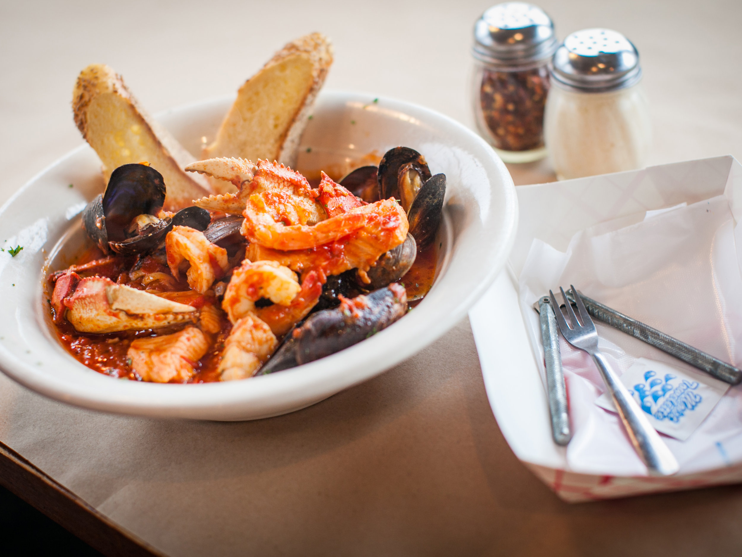 The beautiful and sweet Cioppino, full of local clams. Photo: Ann Coen