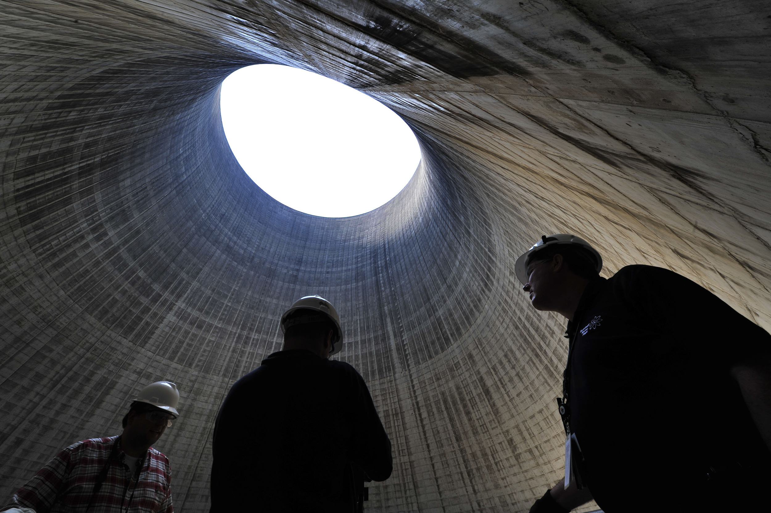 TVA employees inside the cooling tower of the non-operational Bellefonte Nuclear Power Plant June 2, 2011 in Hollywood, Alabama .