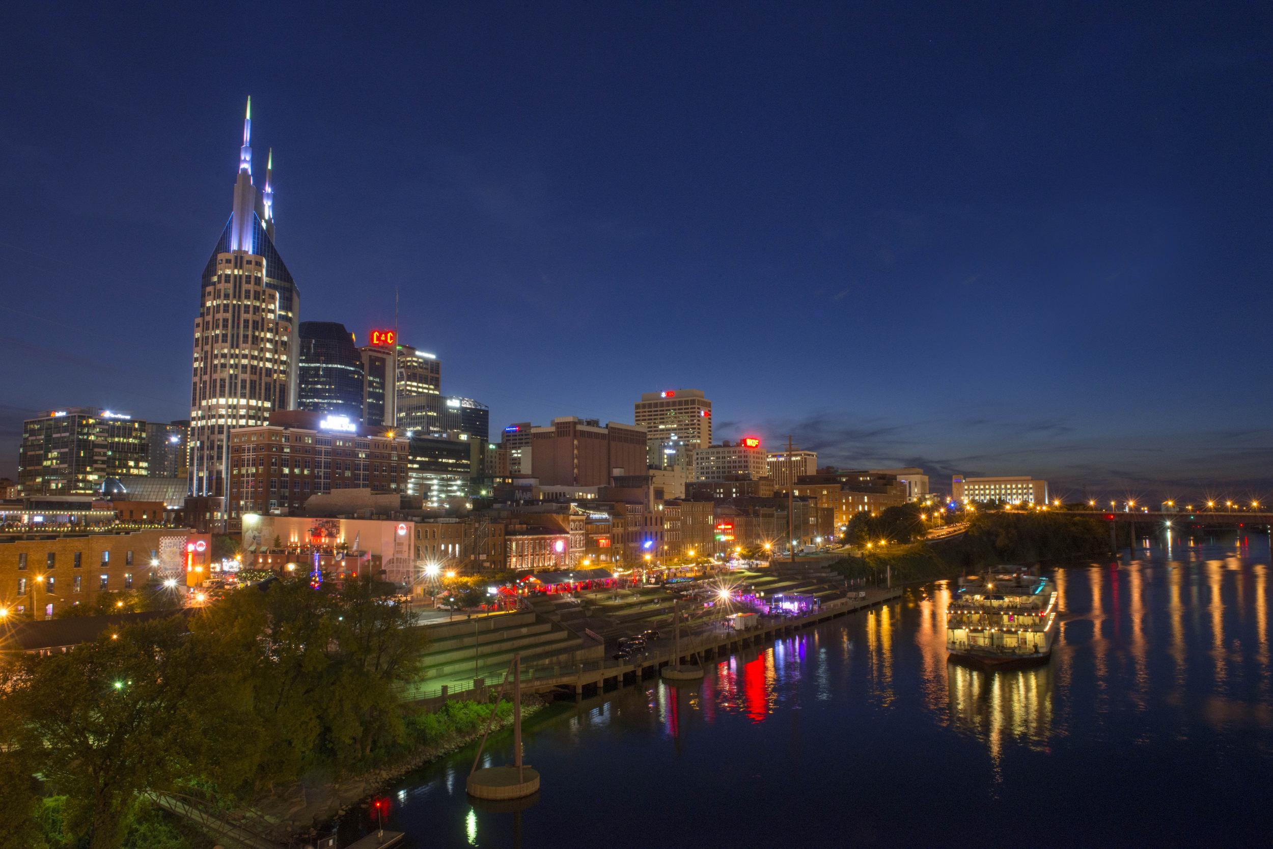 The downtown skyline from the Seigenthaler Pedestrian bridge  in Nashville, Tenn.