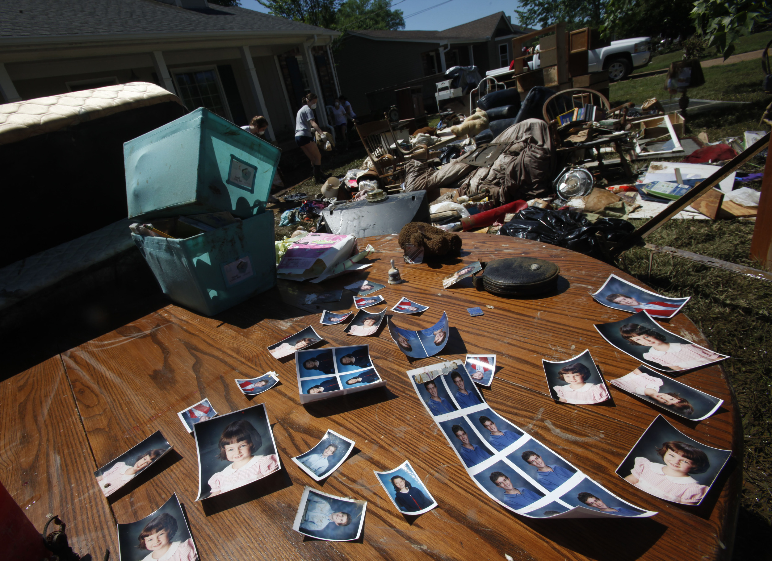 Recovered family photos at Allison Patton's house on Beech Bend Drive May 4, 2010 in Nashville, Tenn.
