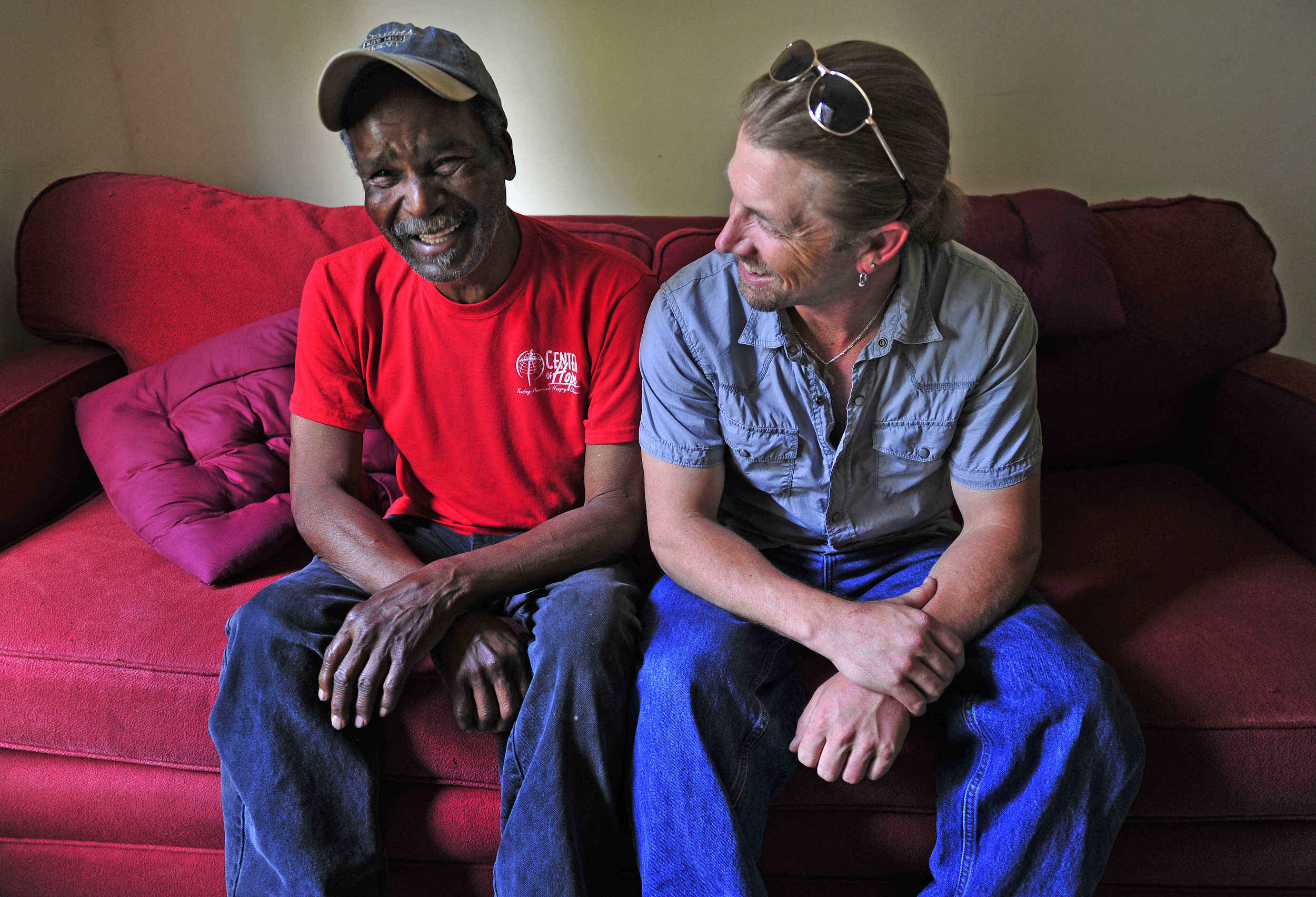 R&B Musician Charlie Fite, 71 shares a laugh with local drummer Tom Larson at Fite's house, destroyed by the May 2010 flood May 11, 2011 in Nashville, Tenn. Larson has led efforts to help him rebuild, doing cleanup and construction with friends and holding fundraising concerts. After one year, Fite's house is 60% rebuilt.