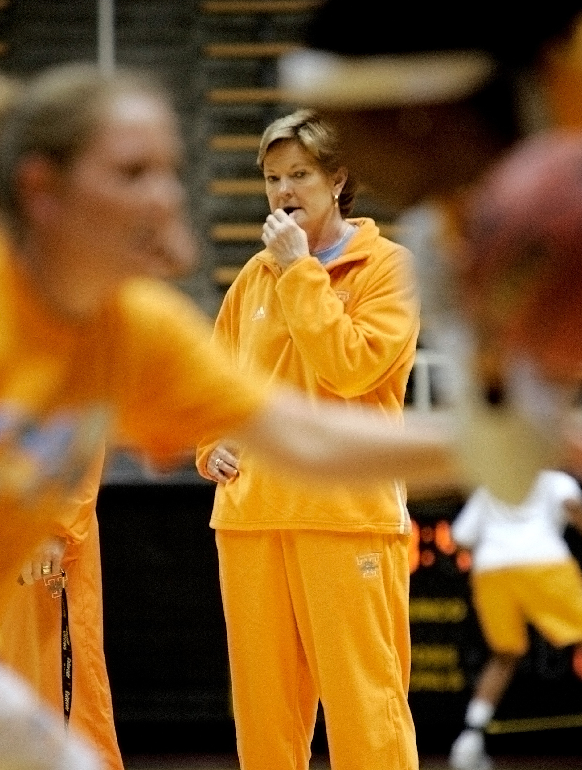 Pat Summitt watches the Lady Vols practice at Mackey Arena Saturday, March 22, 2008 before the NCAA women's basketball tournament subregionals in West Lafayette, Indiana.