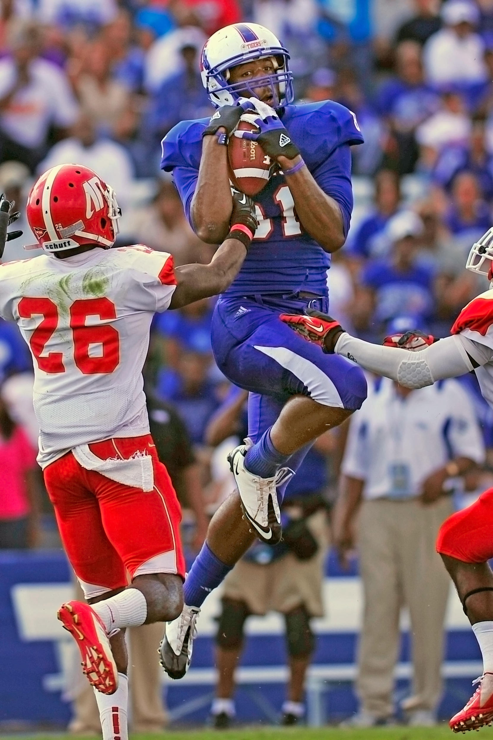 Tennessee State University's Joe Bowens (81) pulls in a pass thrown by quarterback Michael German in the second half against Austin Peay at Hale Stadium September 15, 2012 in Nashville, Tenn.
