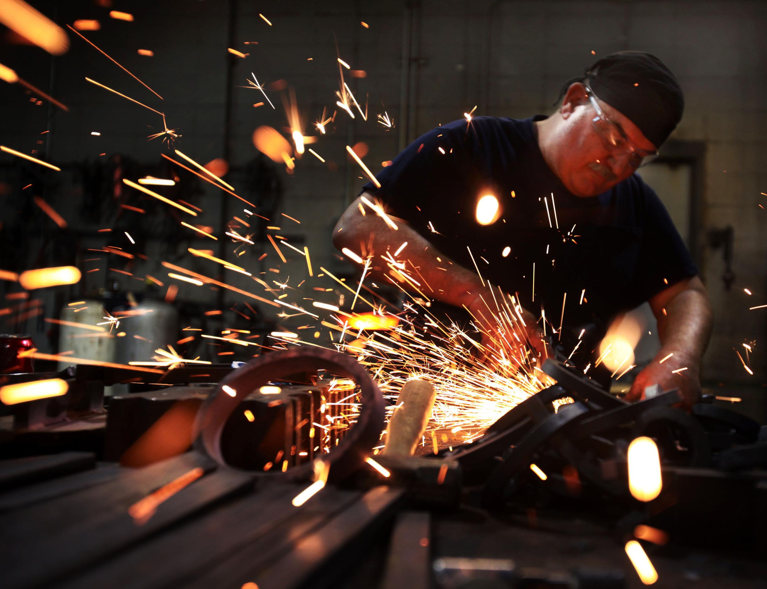 Lead Blacksmith Gene Hutto works at Herndon & Merry in Nashville, Tenn.