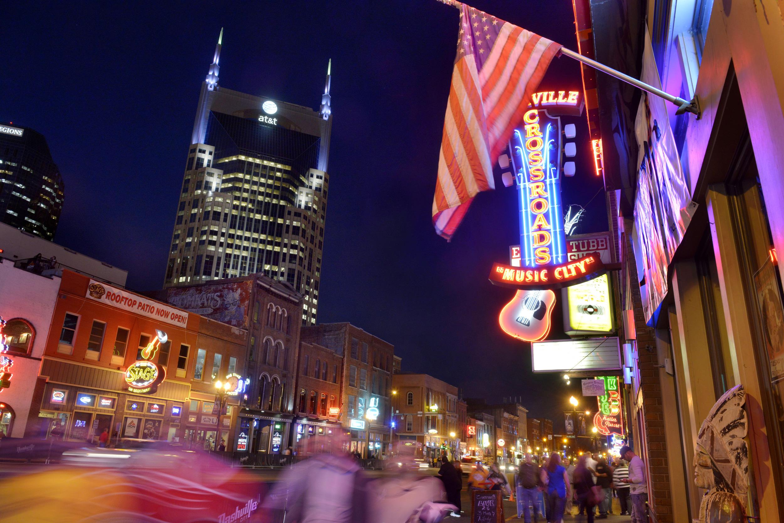 Broadway's honky tonk row in Nashville, Tenn.