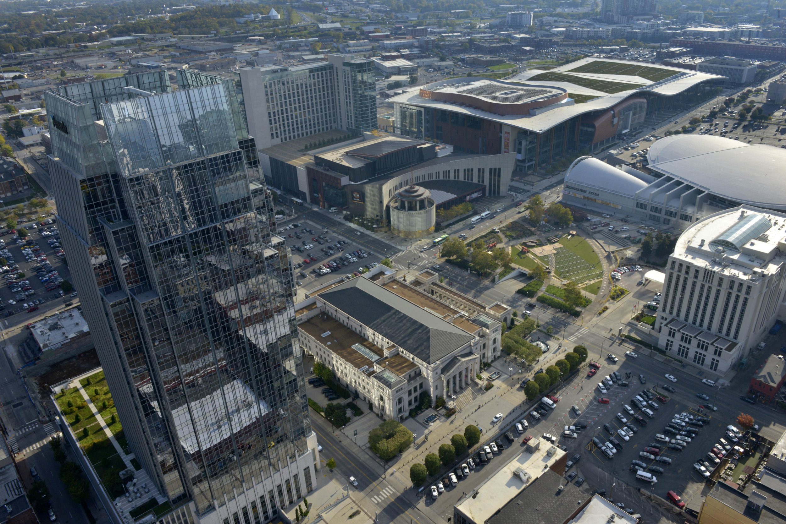 Aerial of the Schermerhorn Symphony Center, the Country Music Hall of Fame and the Music City Center in Nashville, Tenn.