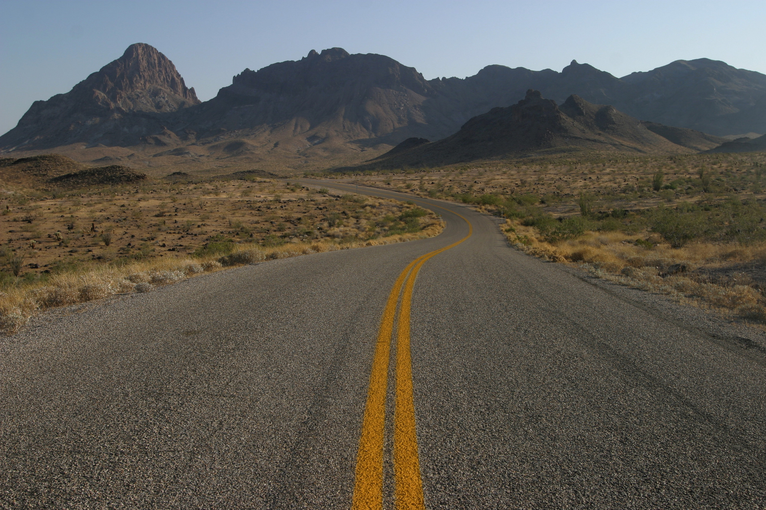 Route 66 winds into the mountains near the border of Arizona and California.