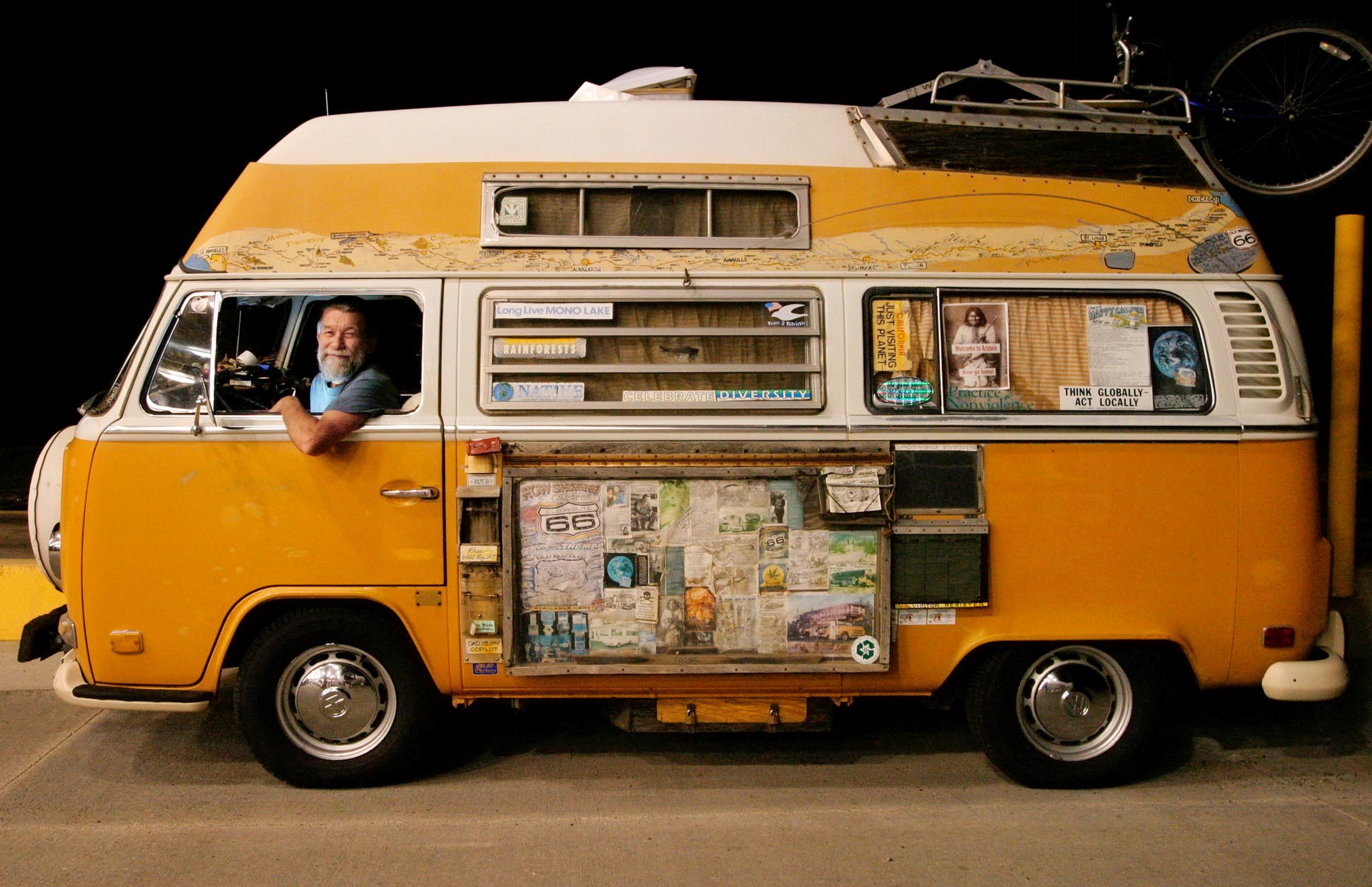 Robert Waldmire in his Route66 van at a truck stop in Lebanon, Missouri.