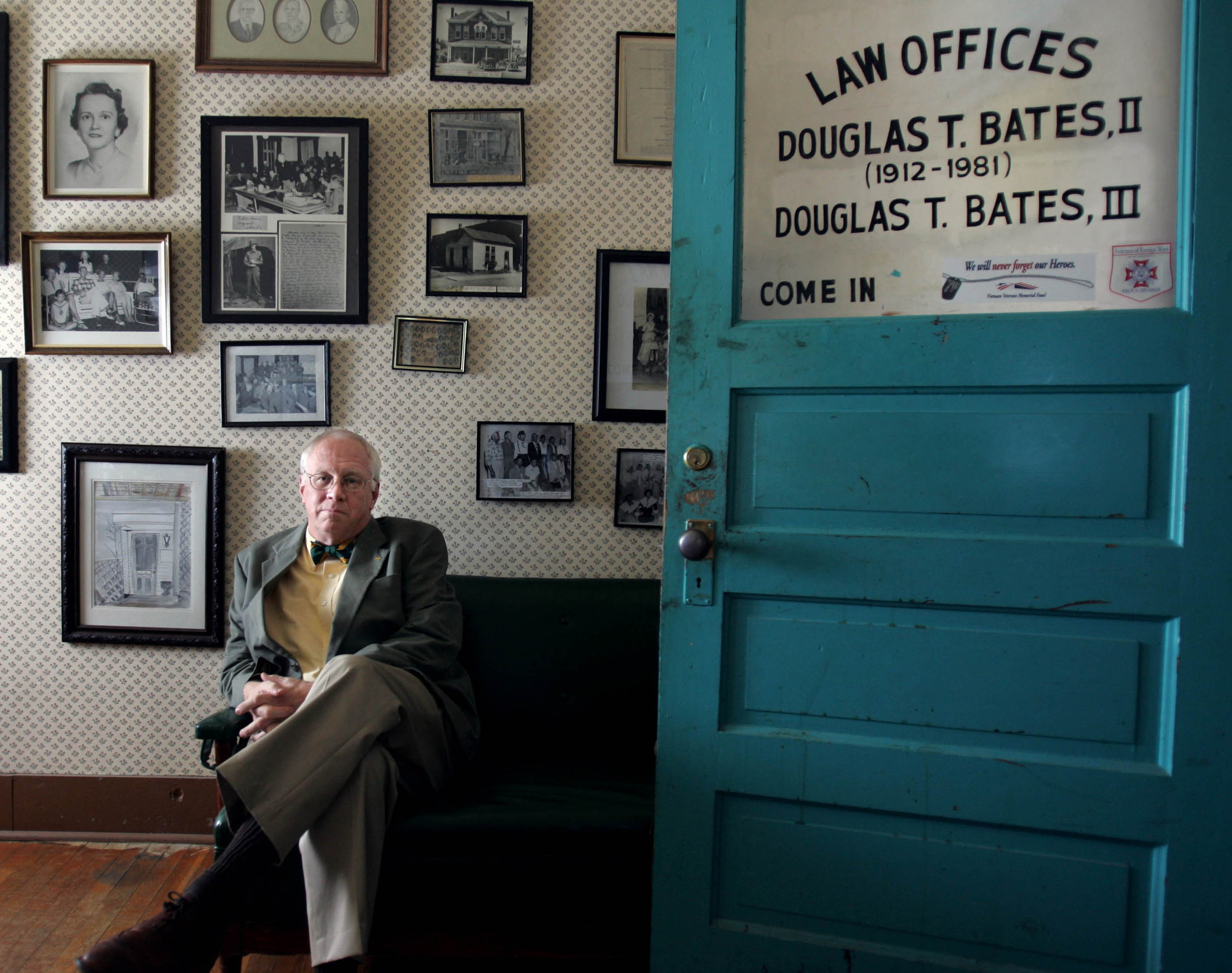 Douglas Bates III in the office that he shared with his father Douglas Bates Jr. on the town square in Centerville, Tenn.