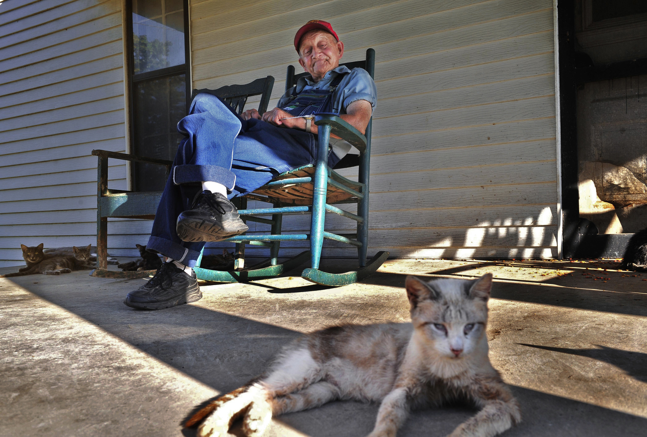 Forrest Savley, 81, was born in a log cabin down the street from the house where he lives with many cats in Coopertown, Tenn.   Savley did not approve of Coopertown becoming a city.