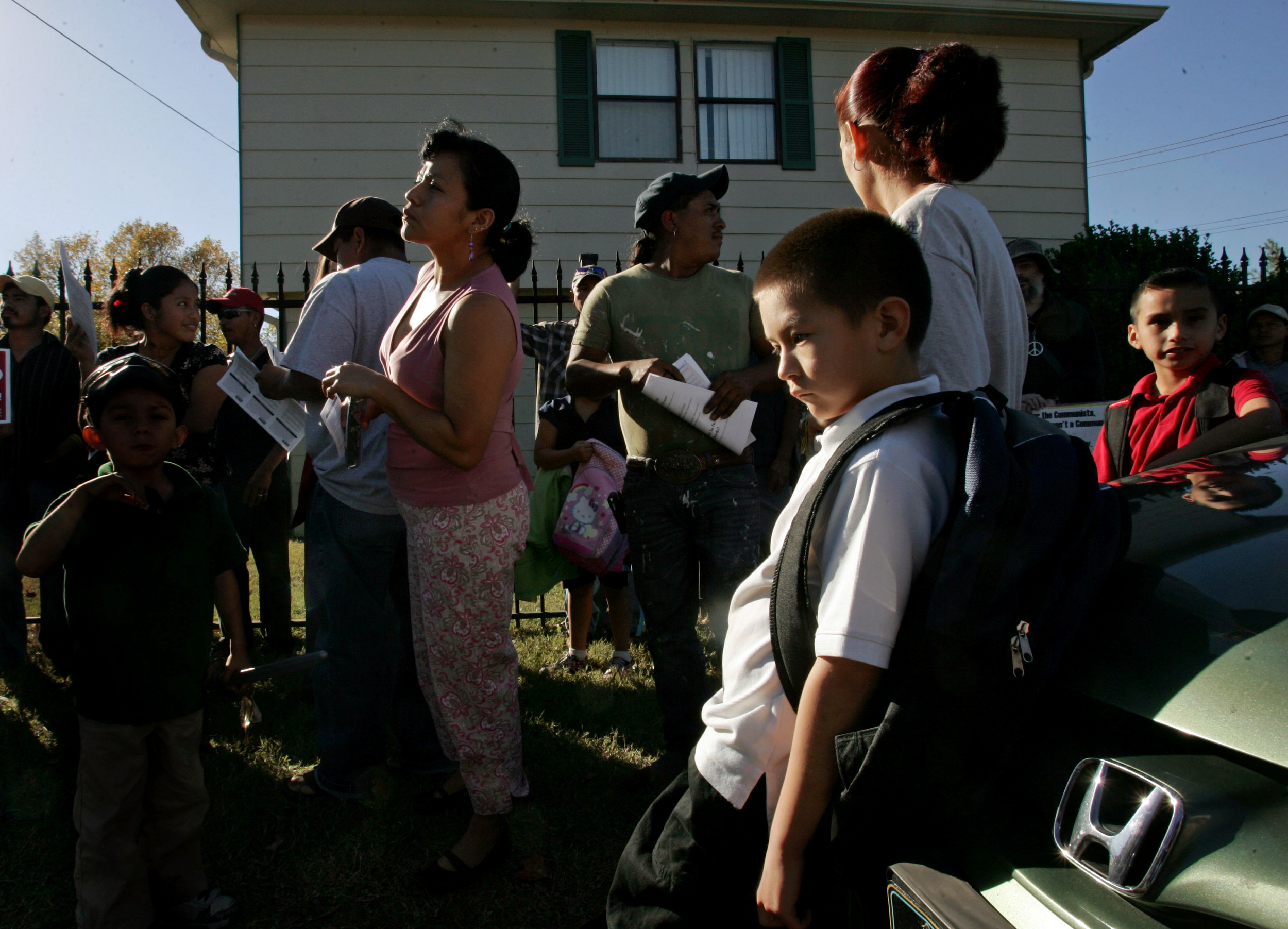 Residents of Clairmont Apartments after immigration raids that residents said were retaliation for complaints  of poor living conditions October 28, 2010 in Nashville, Tenn.