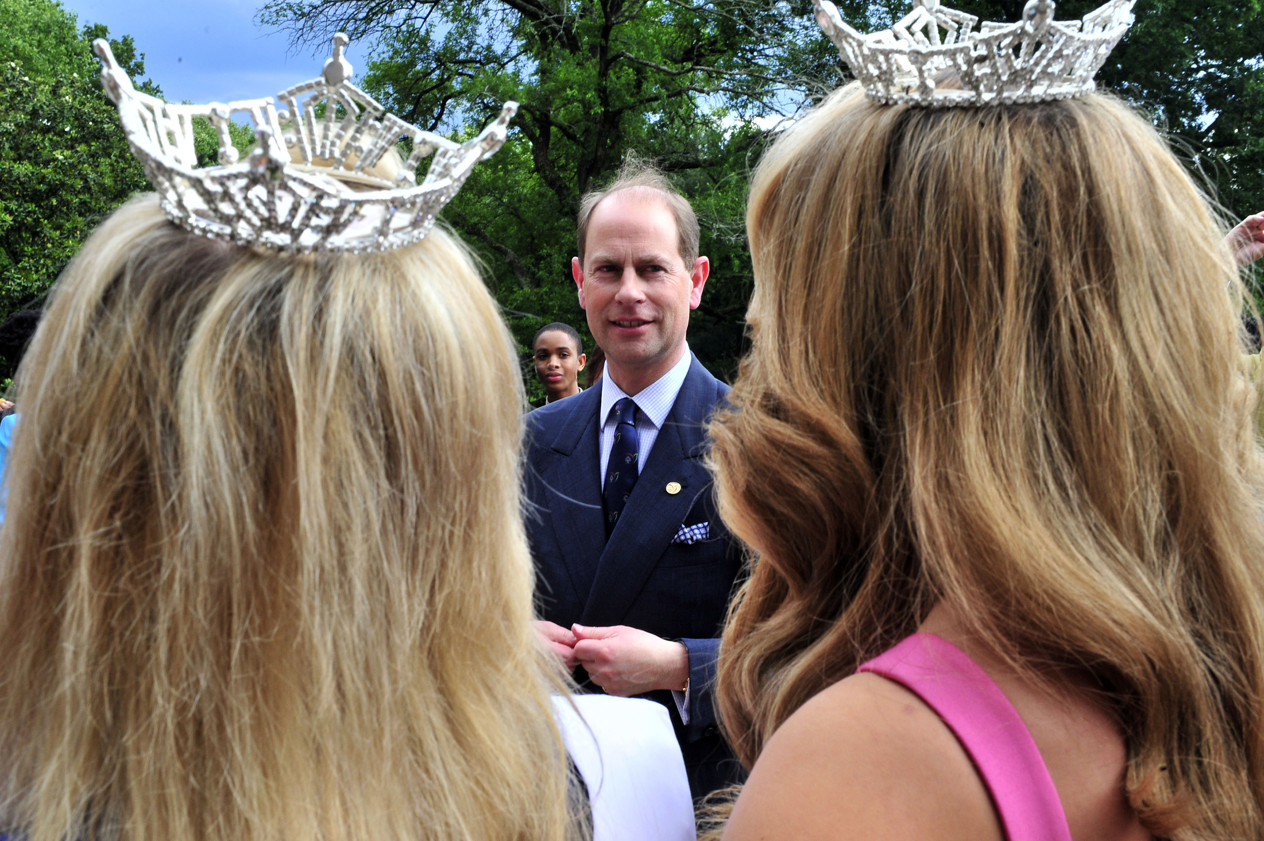 England's Prince Edward chats with Tennessee pageant title holders after presenting them with Duke of Edinburgh's Awards in a ceremony at the Tennessee Residence Thursday, May 23 2013 in Nashville, Tenn.