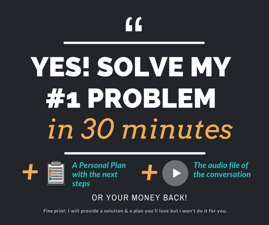 A solution, audio and a plan - 1. Click, book in a time that suits you and securely pay .2. Irena sends you a pre-call survey so you can both prep for your meeting and you can make the most of the call.3. At the scheduled time Irena calls you and SOLVES YOUR PROBLEM by giving you at least 1 great next step that you can do immediately to get unstuck and get going.4. Within 24 hrs Irena sends you an MP3 audio file of your conversation to listen to on any device - even your smartphone! * See NOTE below *5. Within 24 hrs Irena sends you an easy to read 1 page plan that you can keep & refer to.NOTE: Audio is currently only offered with mobile or landline phone calls.