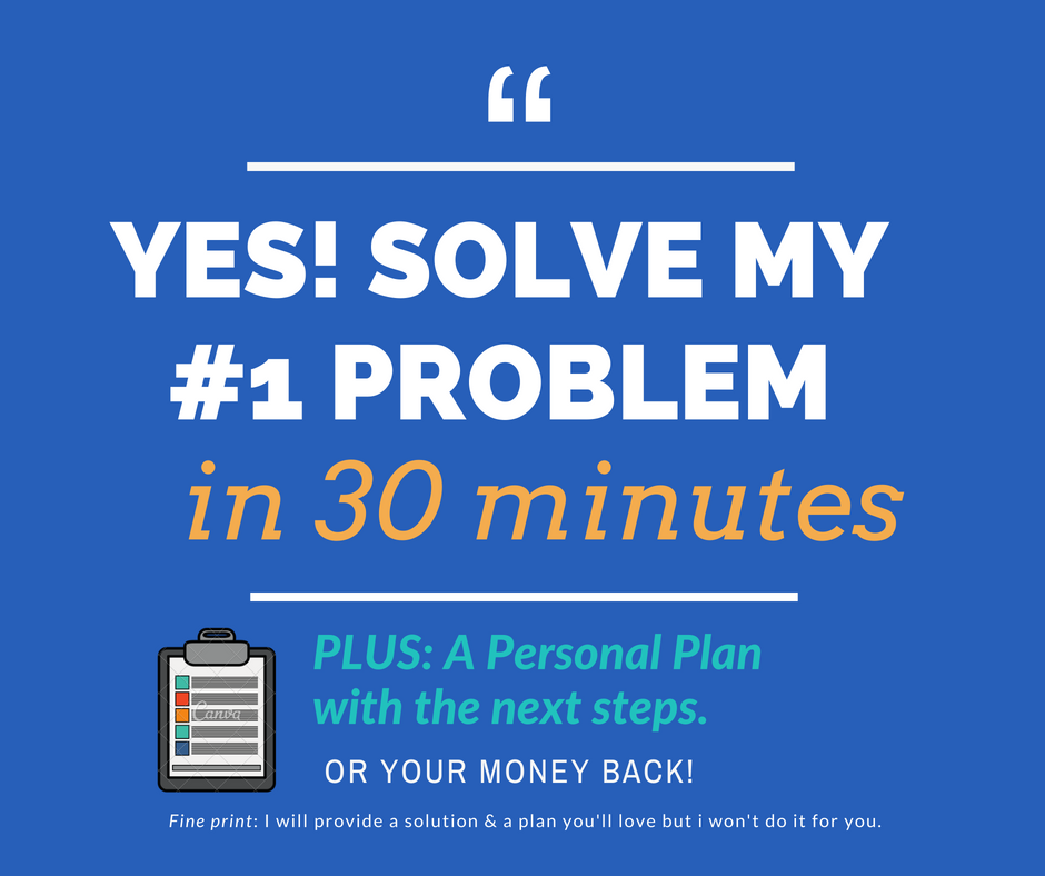 A solution and a plan - 1. Click, book in a time that suits you and securely pay .2. Irena sends you a pre-call survey so you can both prep for your meeting and you can make the most of the call.3. At the scheduled time Irena calls you and SOLVES YOUR PROBLEM by giving you at least 1 great next step that you can do immediately to get unstuck and get going.4. Within 24 hrs Irena sends you an easy to read 1 page plan that you can keep & refer to.