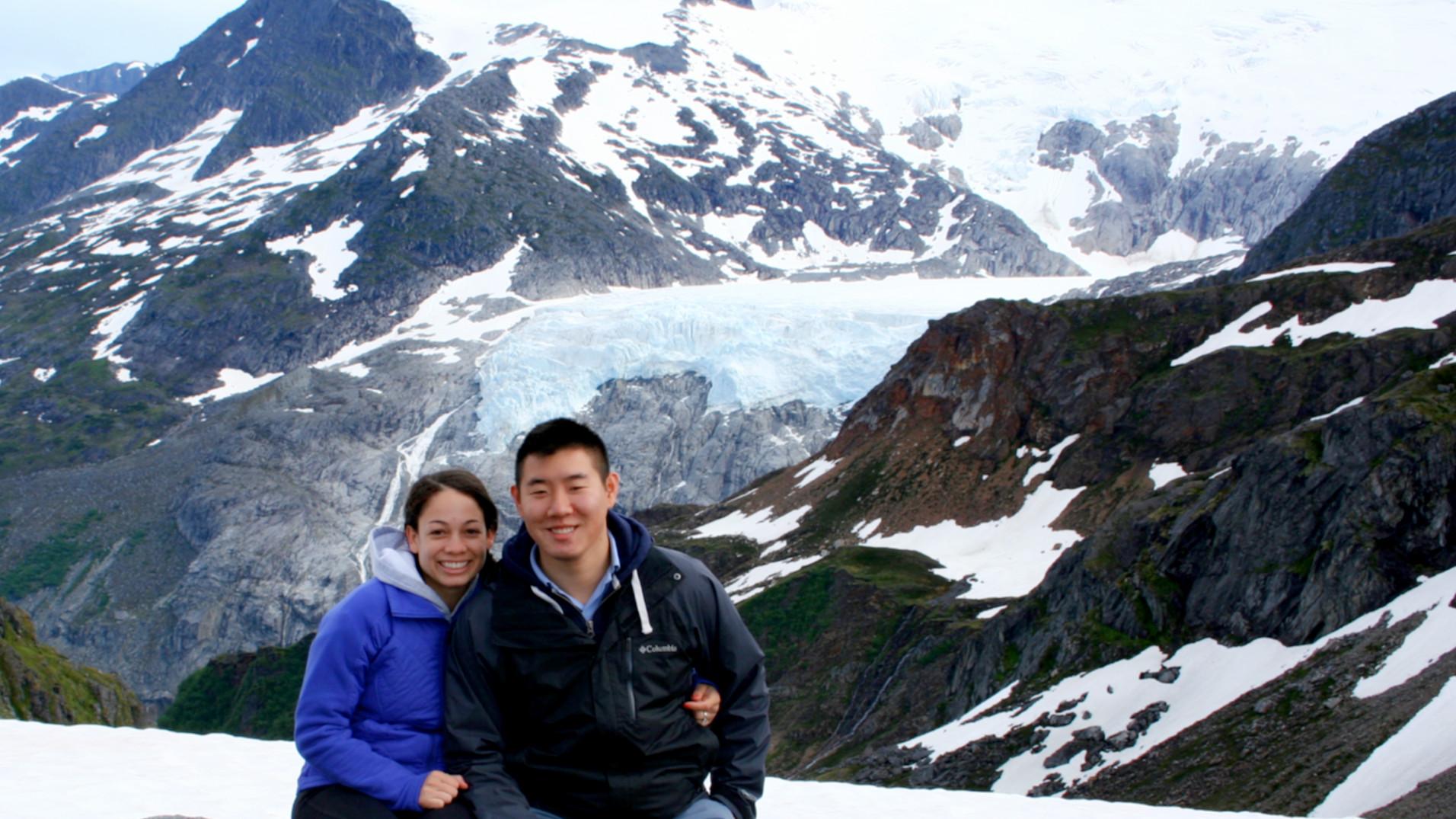 Jessica & Steve on Mendenhall Glacier in Alaska