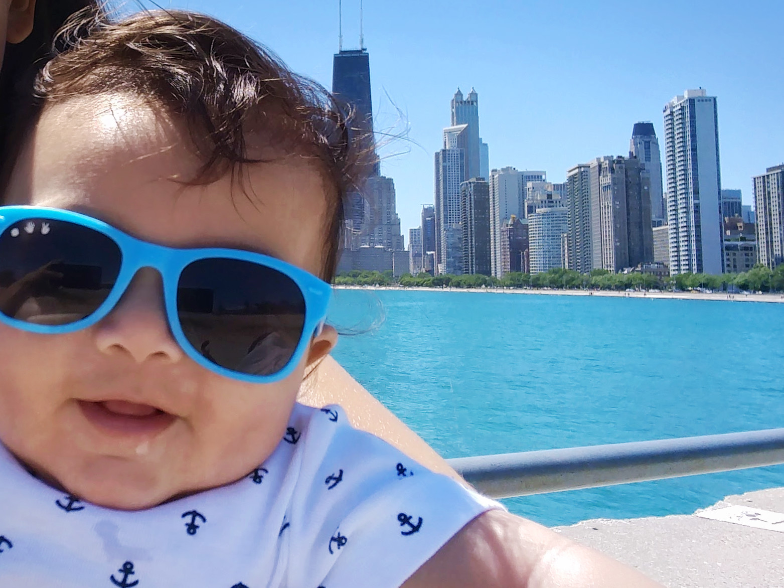Elden (5 months old) out for a walk along Lake Michigan in Chicago