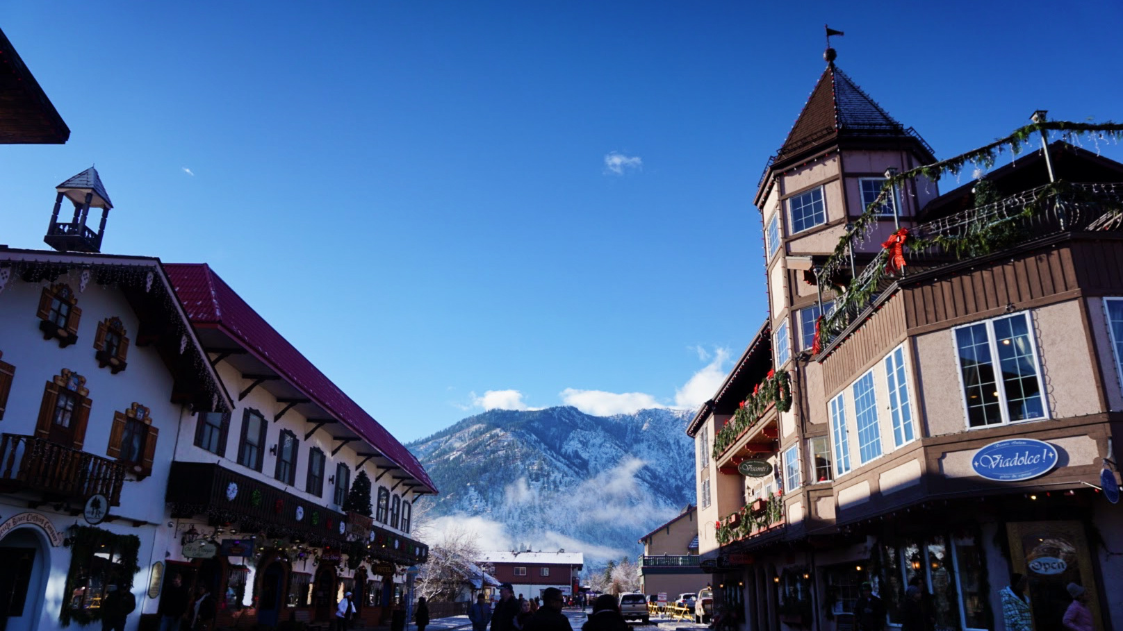 Downtown Leavenworth with the Cascade Mountains in the background